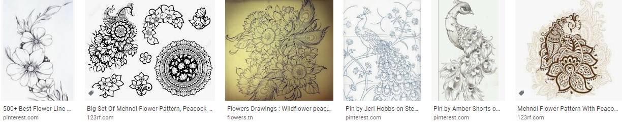Inspirational Flowers Outline Drawing peacock