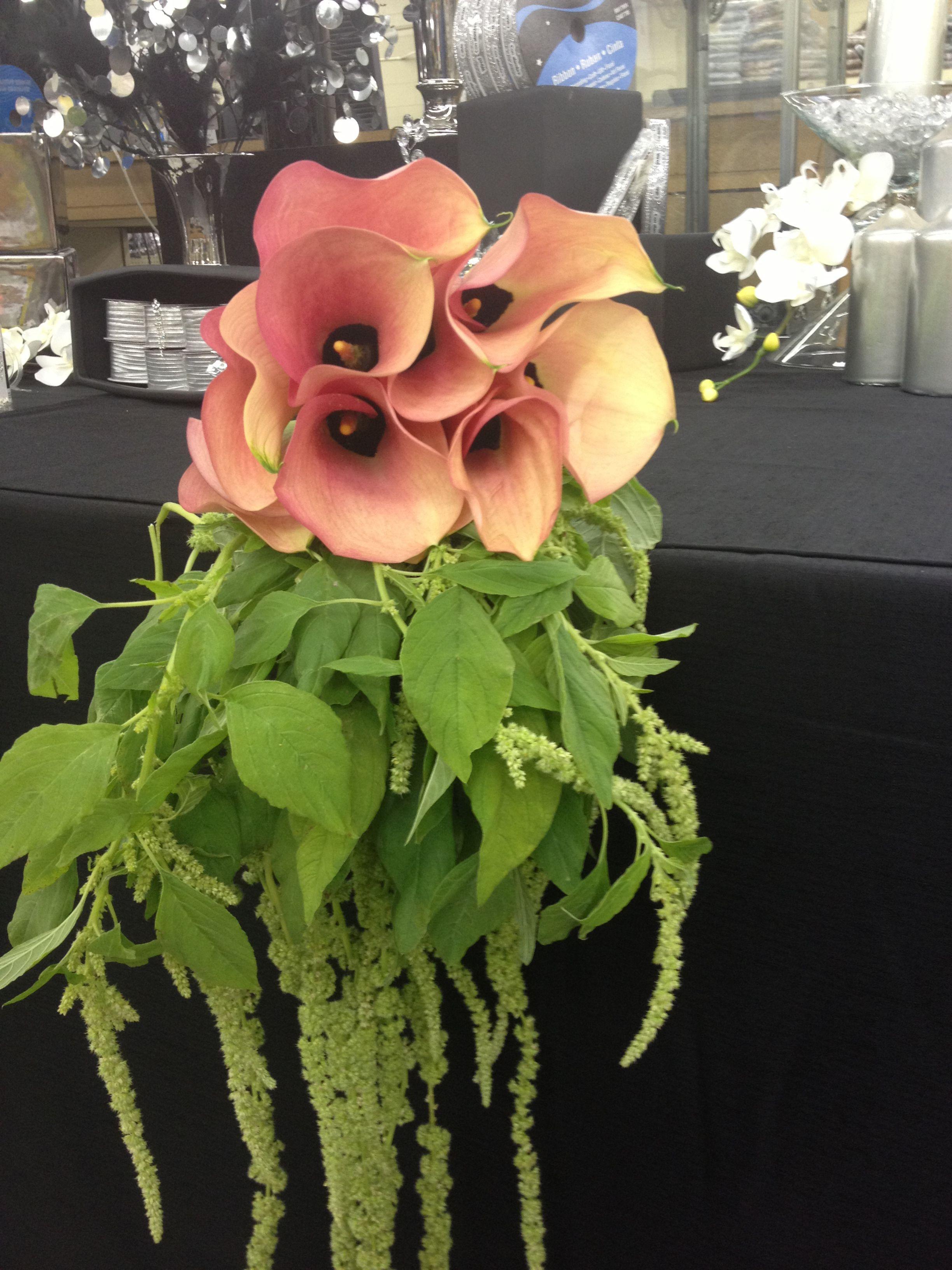 Peach Mini Callas and Green Hanging Amaranthus