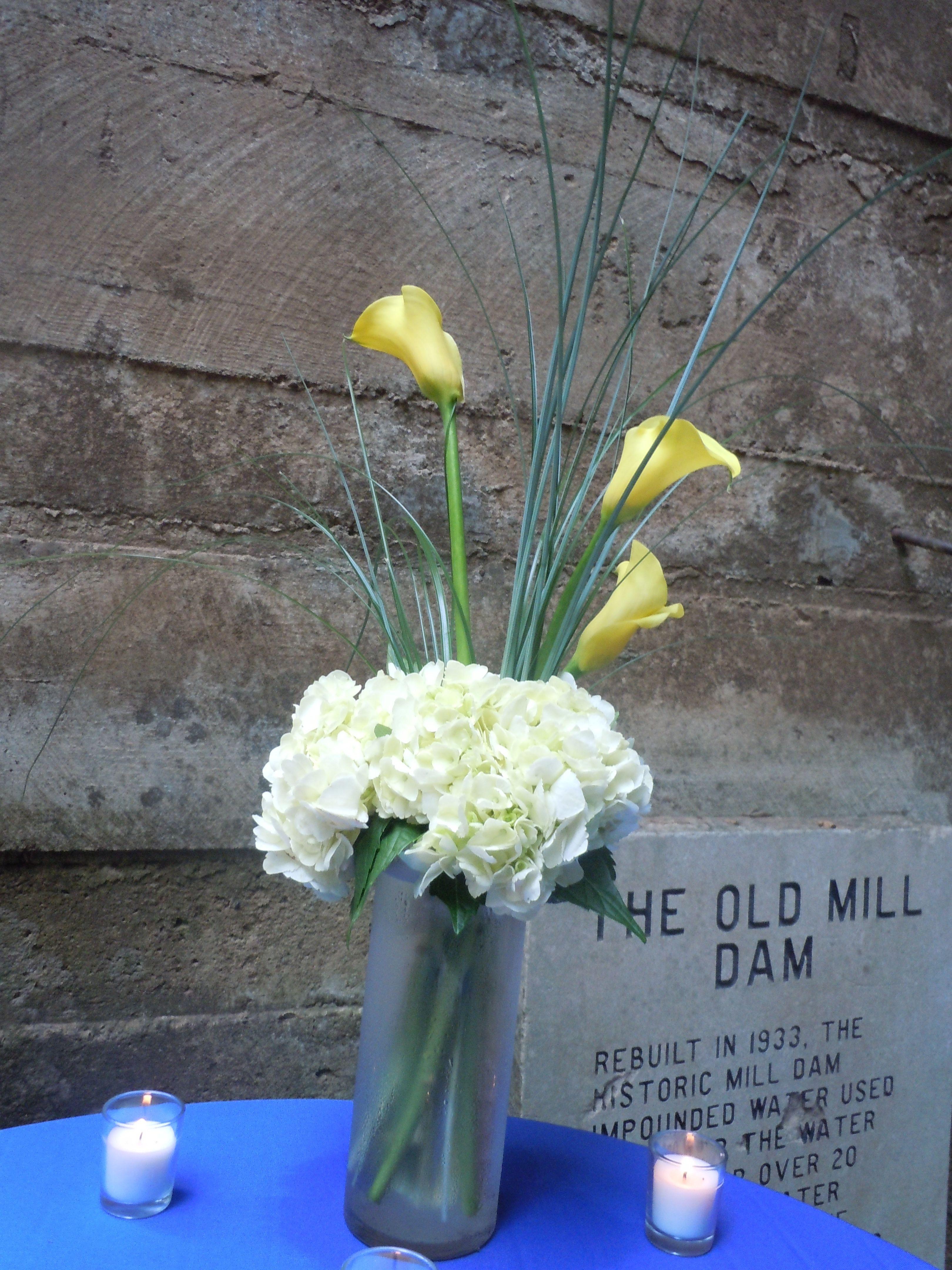 gerber daisy and hydrangea floral arrangements