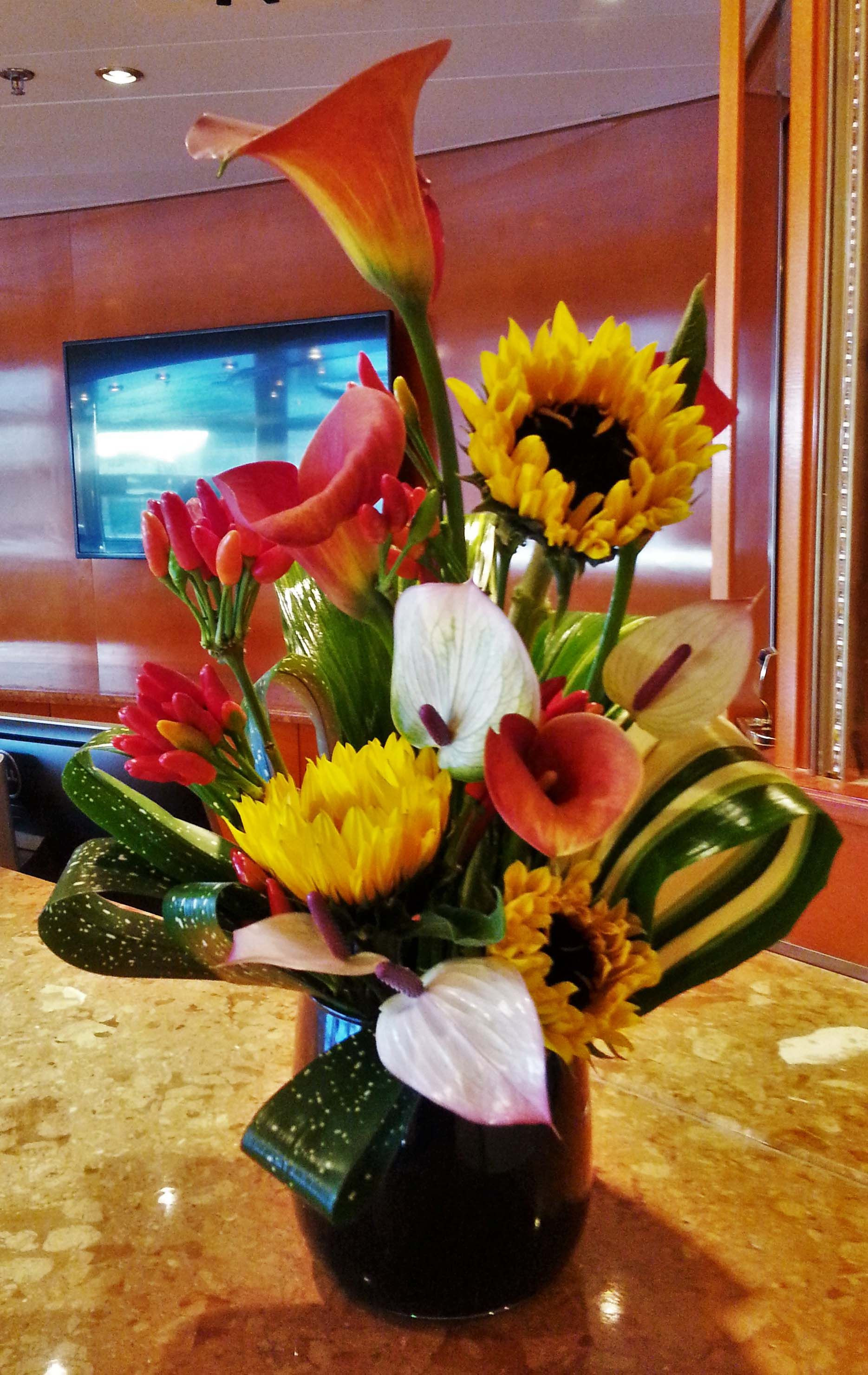 3 OD Sunflower Orange Calla Lily Pink Anthurium Chilli Peppers Foliage in black vase