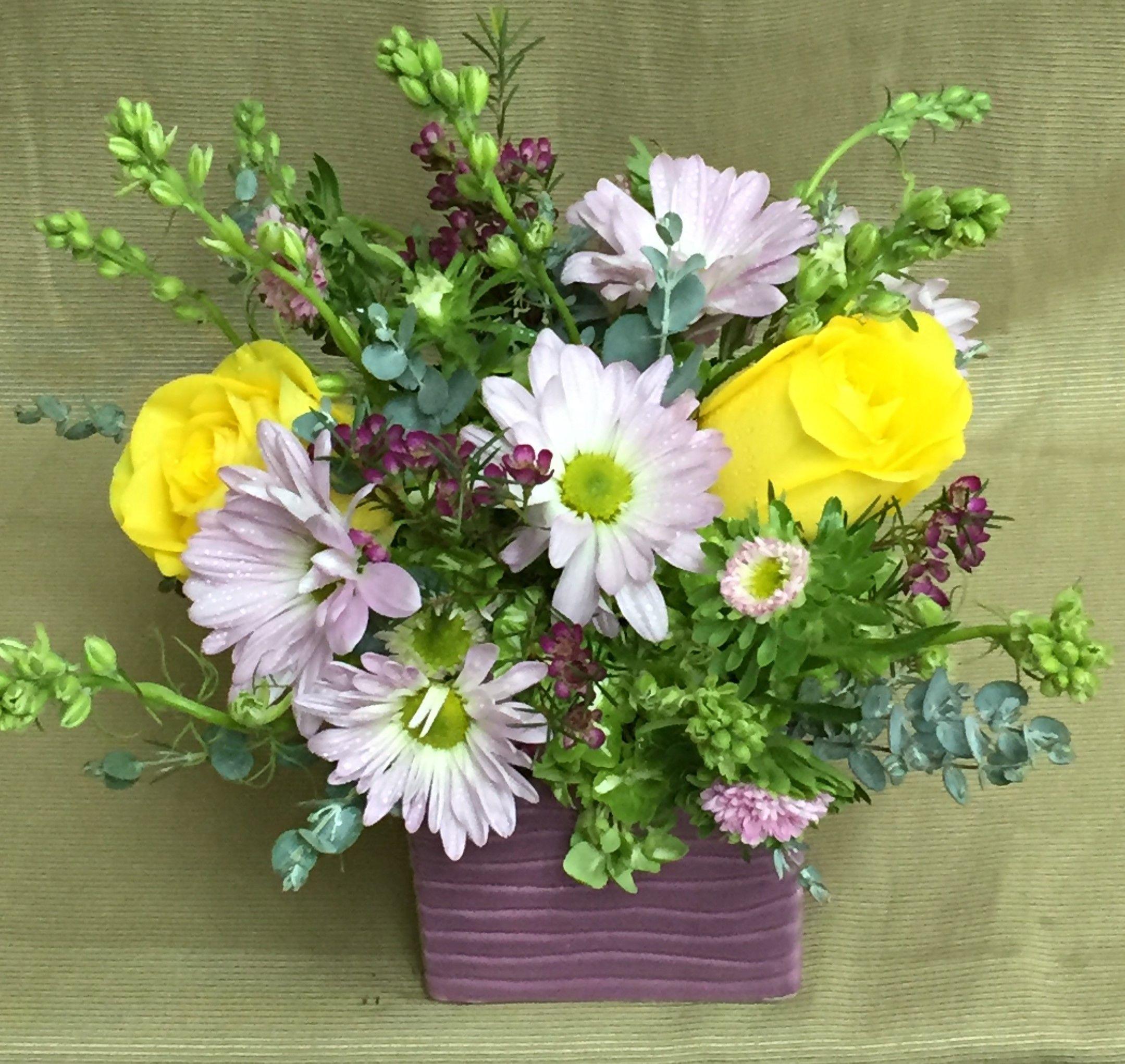 Daisy Smile yellow standard roses purple chrysanthemum daisies purple waxflower pink Matsumoto