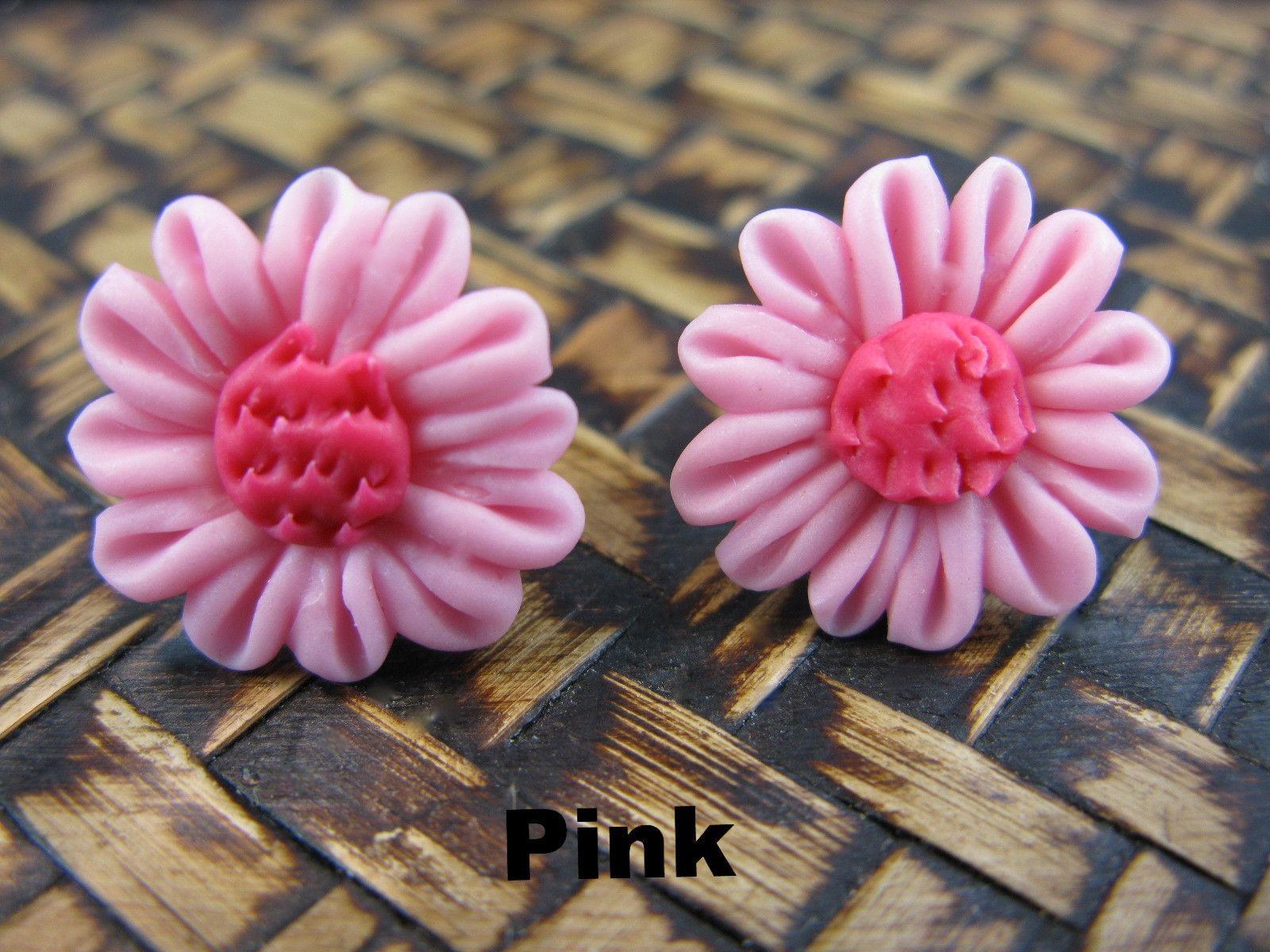 Chrysanthemum Flower Handmade Clay Stud Earrings