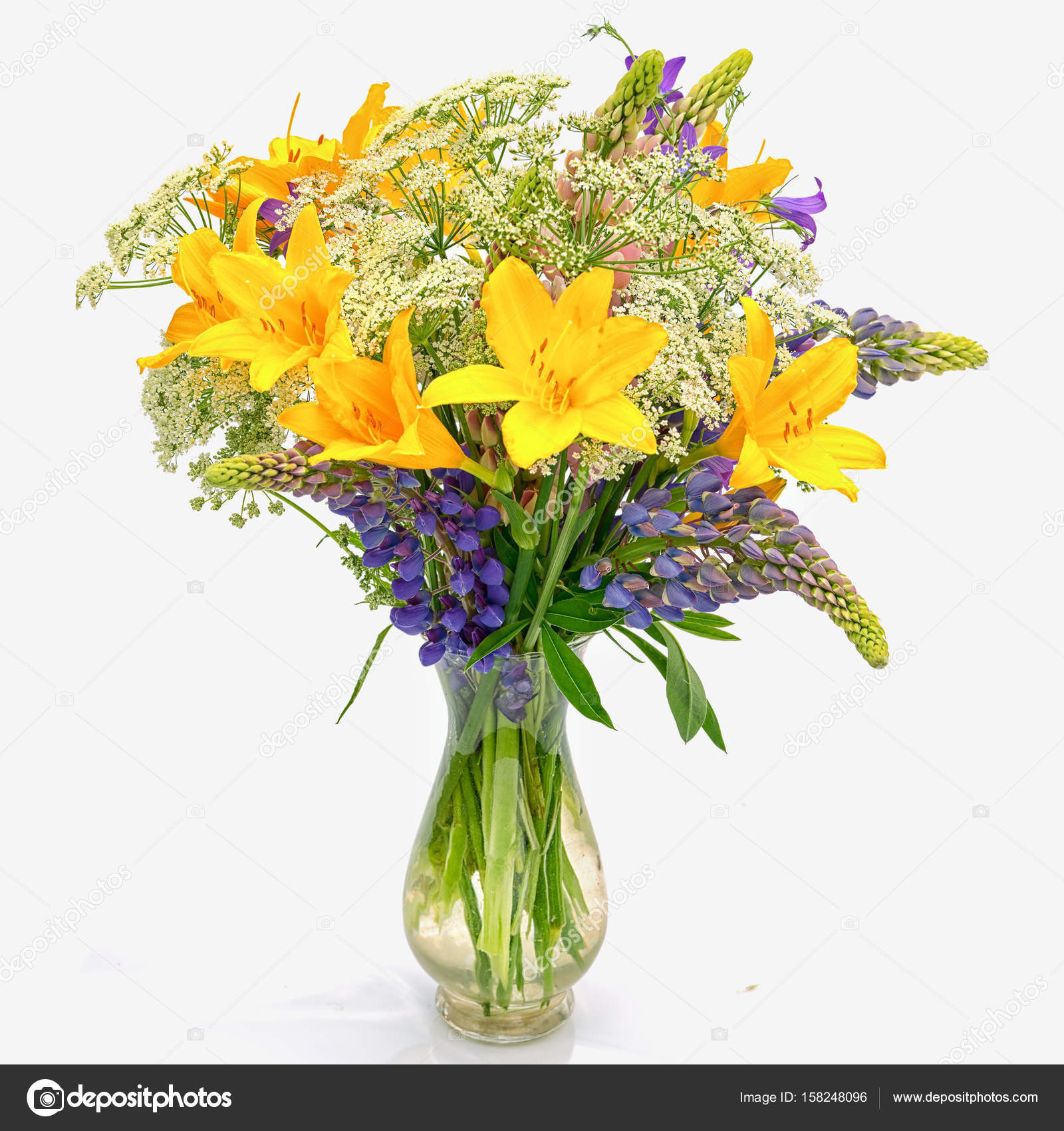 Bouquet Od Wild Flowers Achillea Millefolium Day Lily and Lupine Scheme Beautiful Flower Bouquet