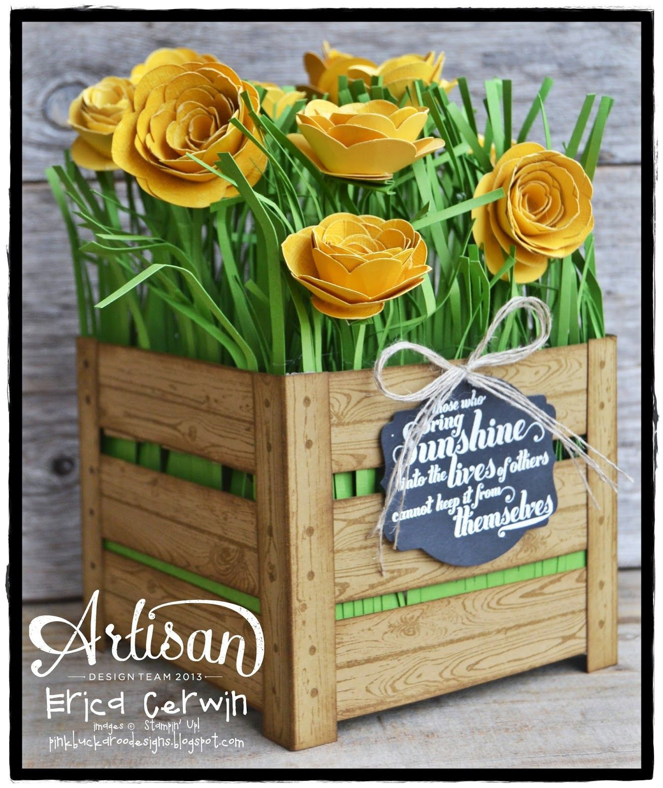 Amazing Flower Crate created by Artisan Design Team member Erica Cerwin using the Stampin Up Spiral Flower Die and woodgrain background stamp