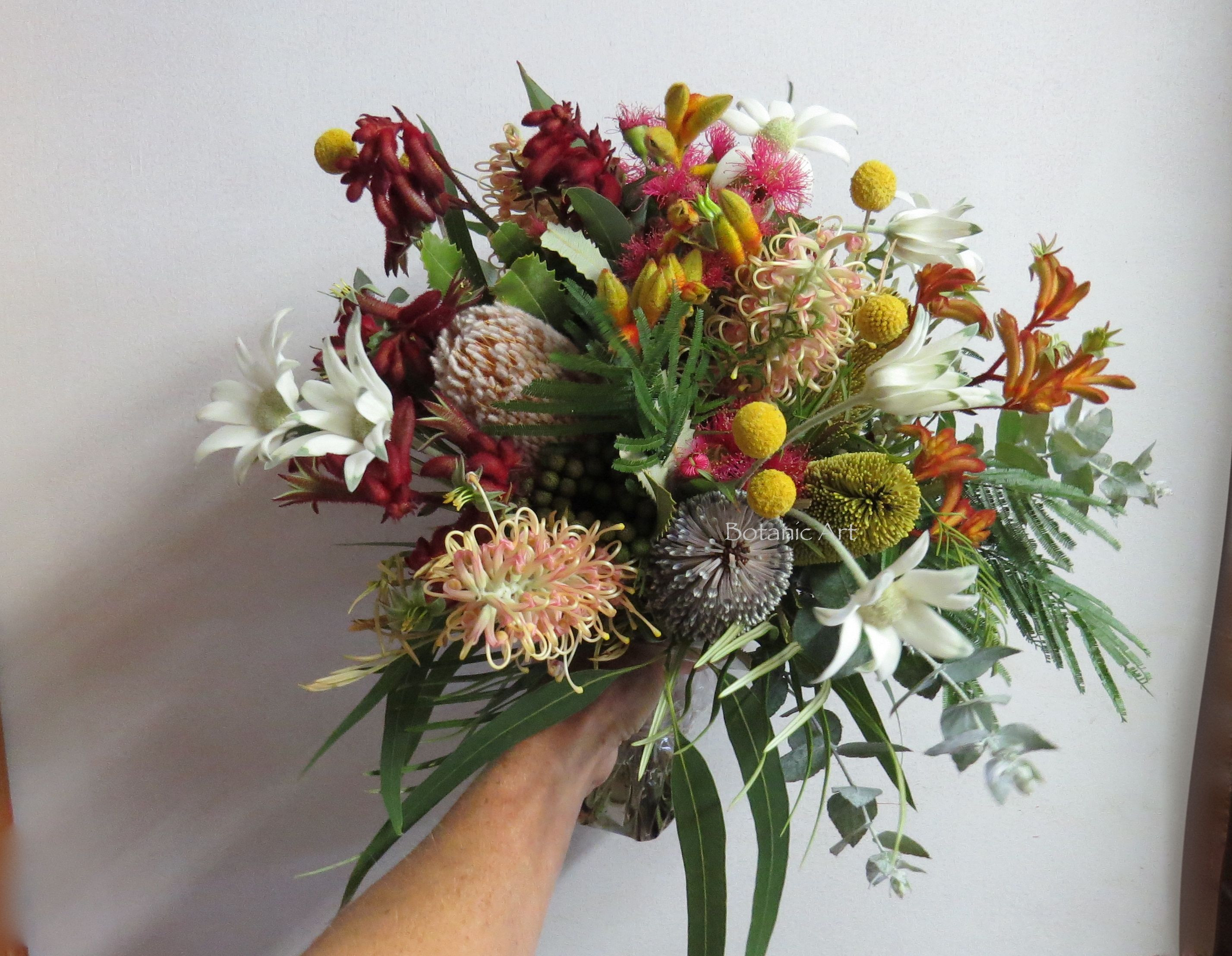 Australian native flowers wedding bouquet hand tied brights colourful flannel flowers