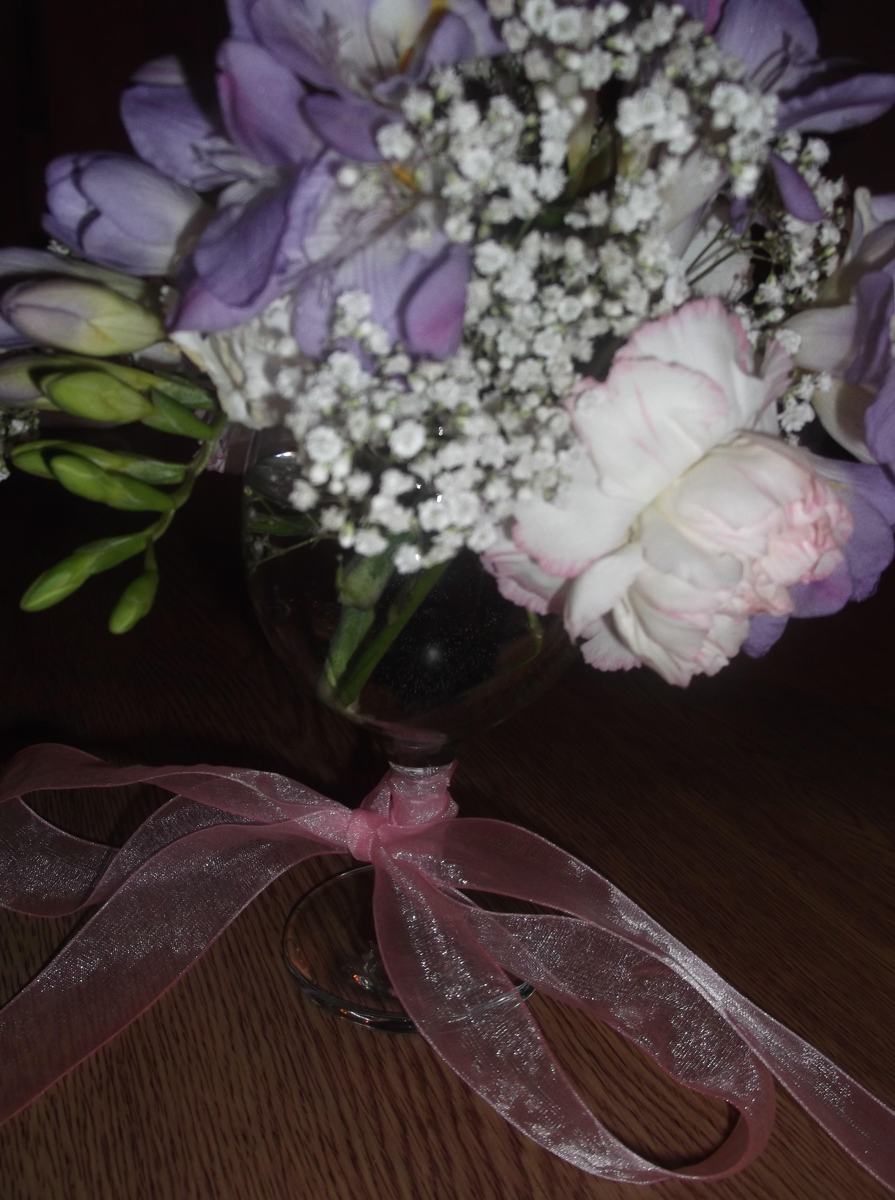 Freesias Carnations & Gypsophila Baby s Breath in a Wine Glass