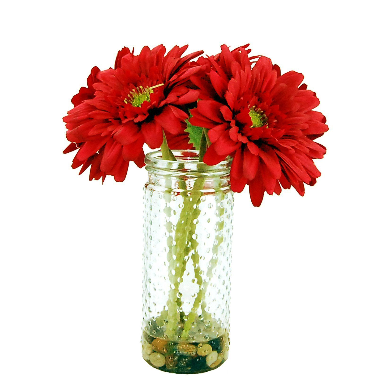 LCG Florals Gerber Daisies Silk Flowers with Glass Vase 15W73