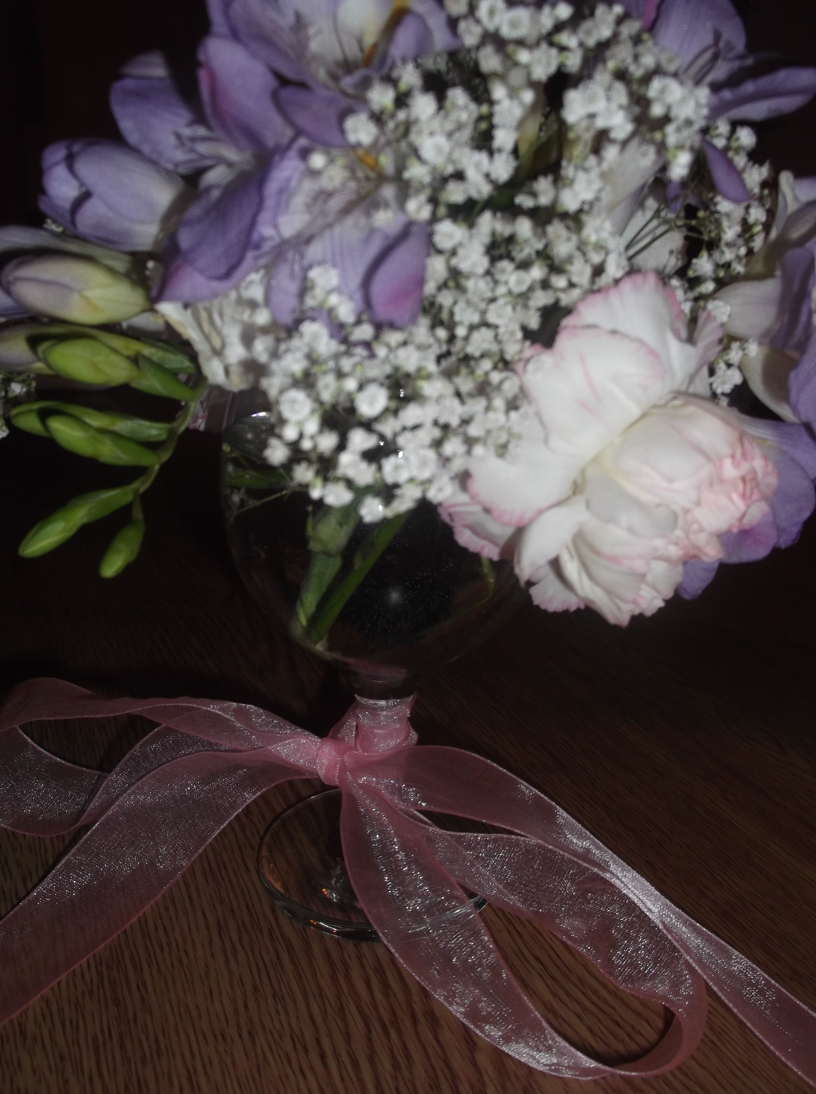 Freesias Carnations & Gypsophila Baby s Breath in a Wine Glass