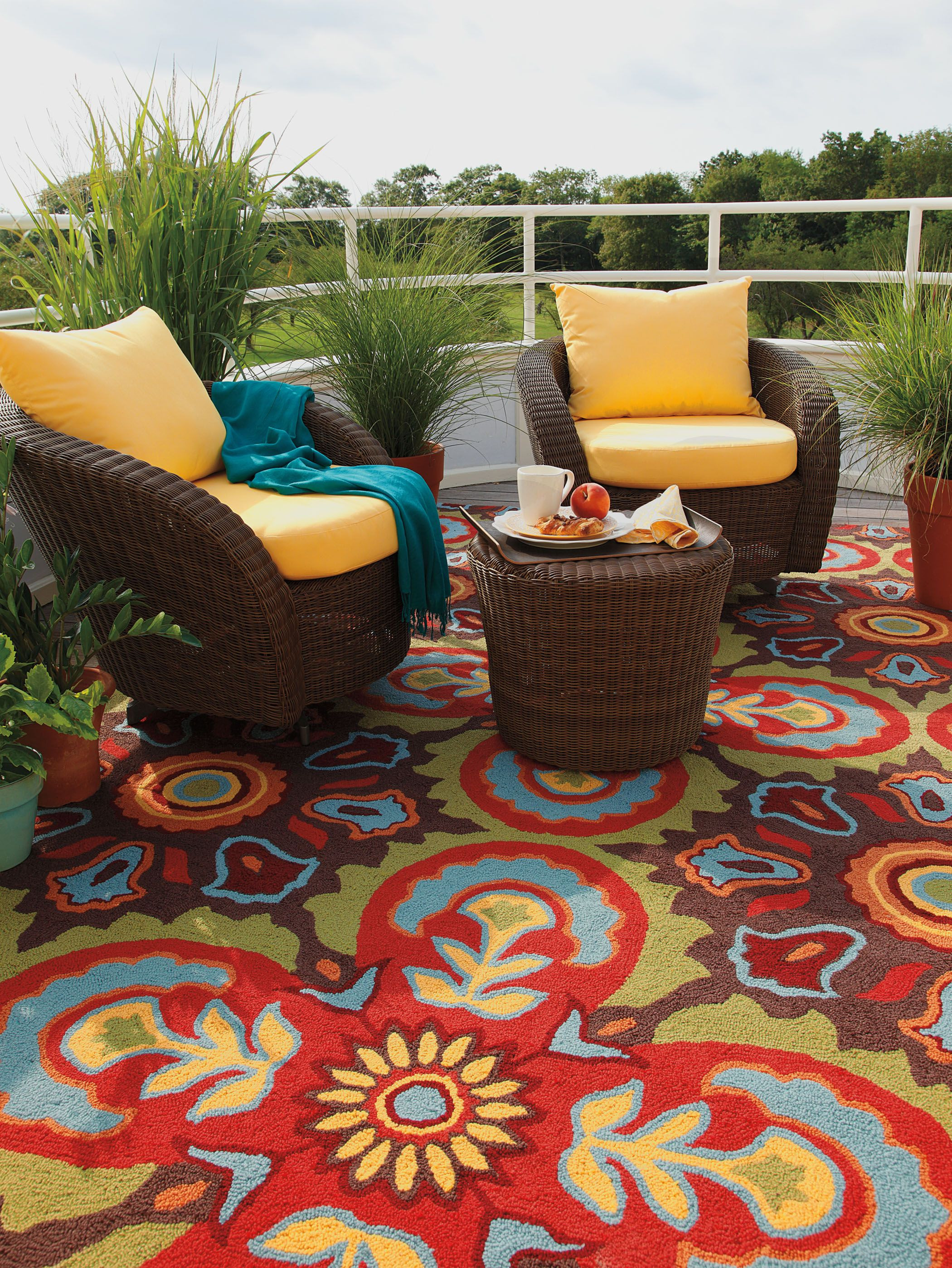 How stunning is pany C s Talevera Tile indoor outdoor rug Inspired by the motifs on colorful Talavera pottery from Mexico this rug enlarges upon a