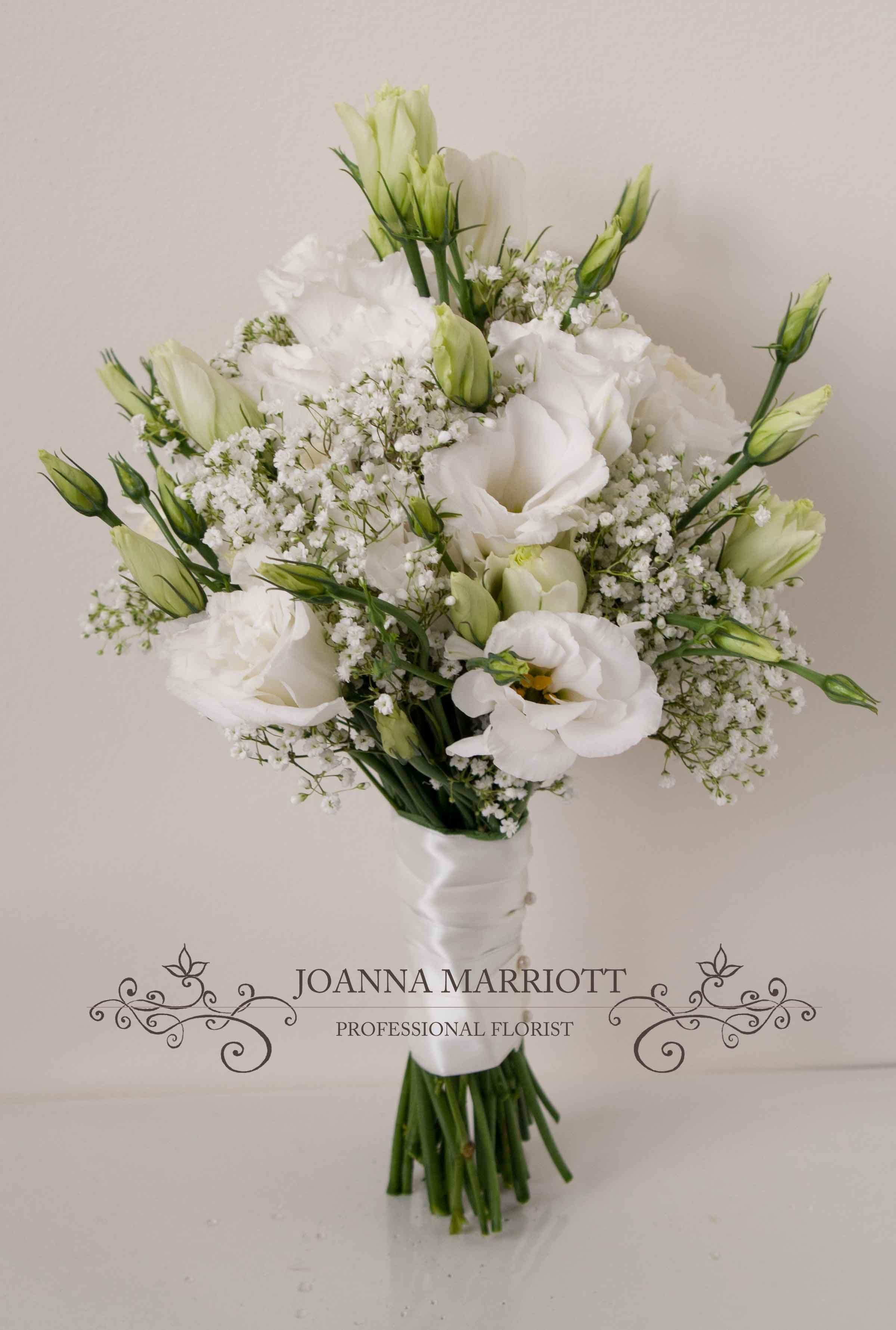 White lisianthus and gypsophila Bridesmaid Bouquet