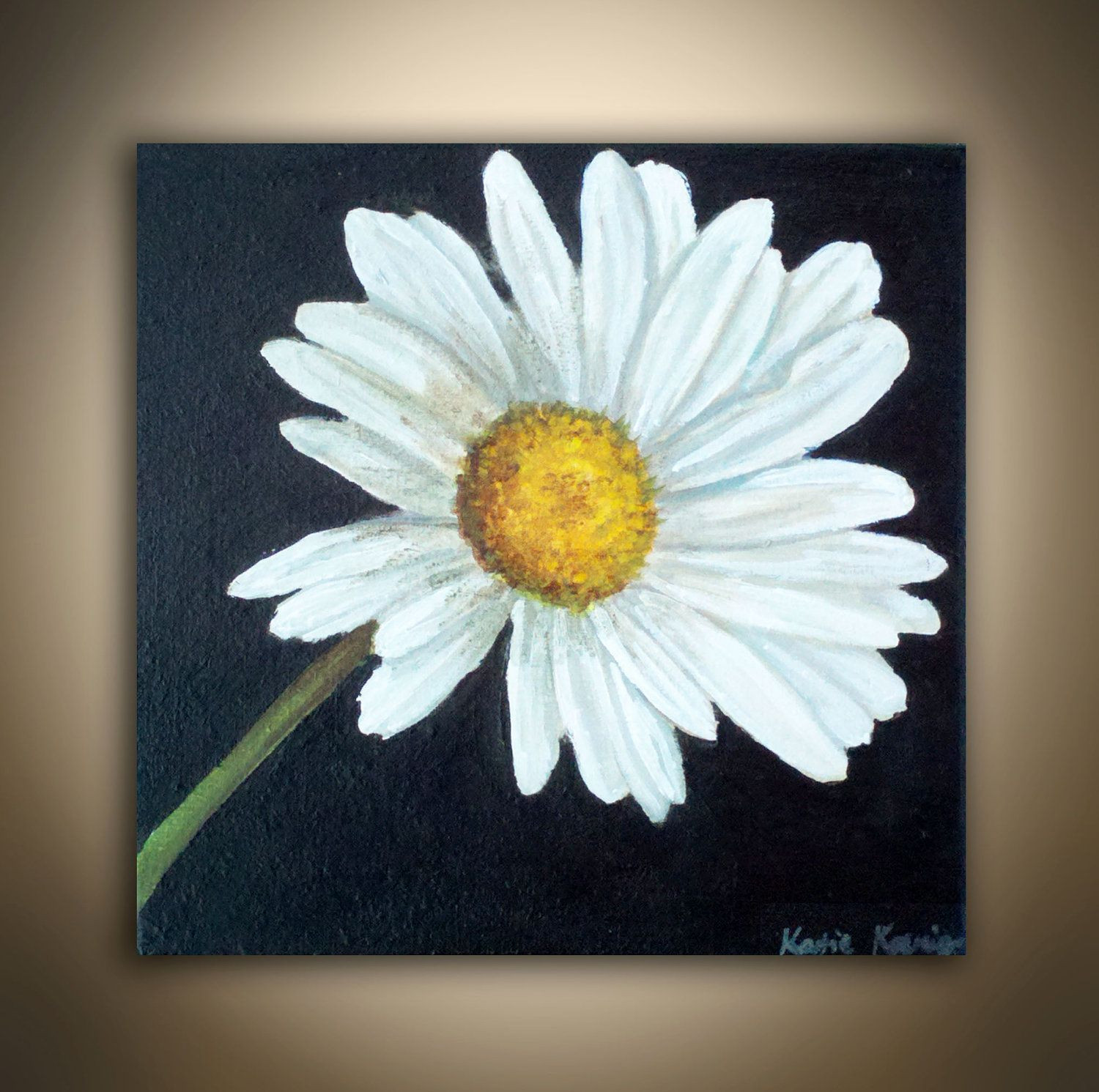 Traditional realistic daisy painting