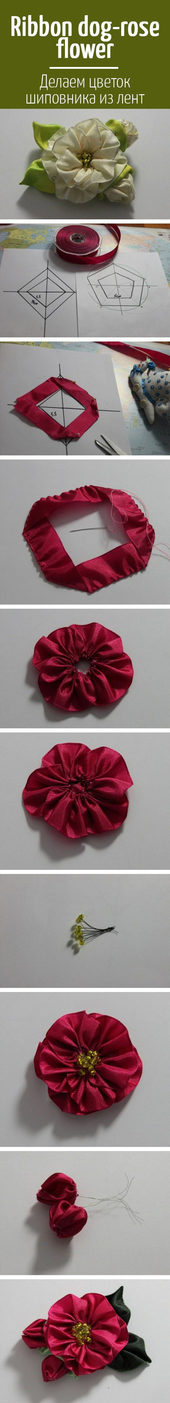 Ribbon dog rose flower ДеРаем цветок шиповника из Рент