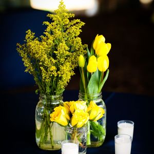 Solidago Flower Beautiful Multiple Small Vases with Yellow solidago Tulips and Spray Roses