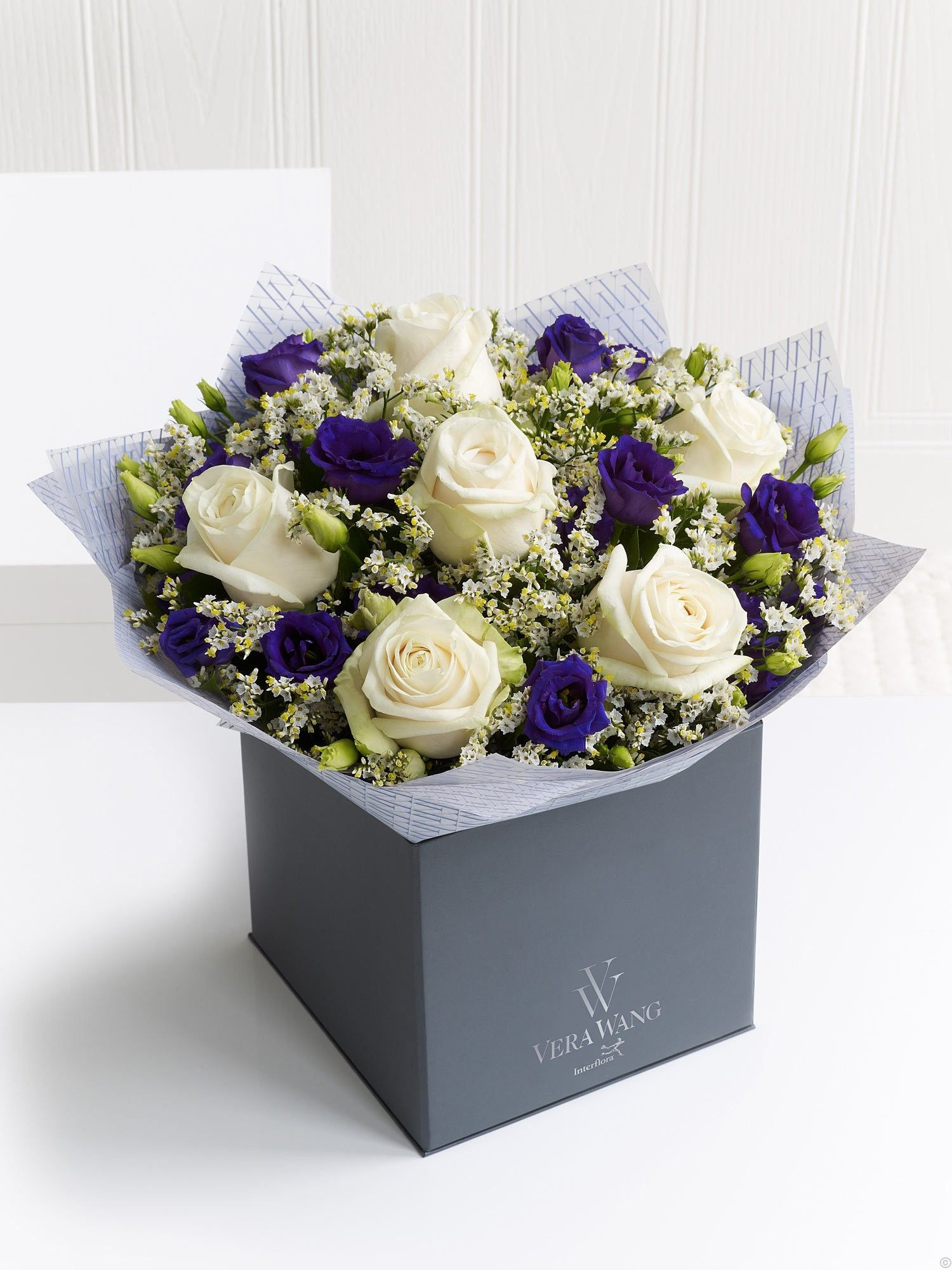 """Dreamy Romance"" wif Ice Bear Roses Purple Double Lisianthus n Fresh Limonium """