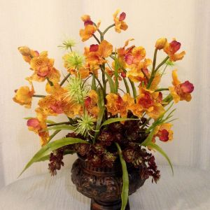 Urn Plant Flower Luxury Vanda orchid Sedum Plant and Wild Thistle Arrangement In Resin Urn
