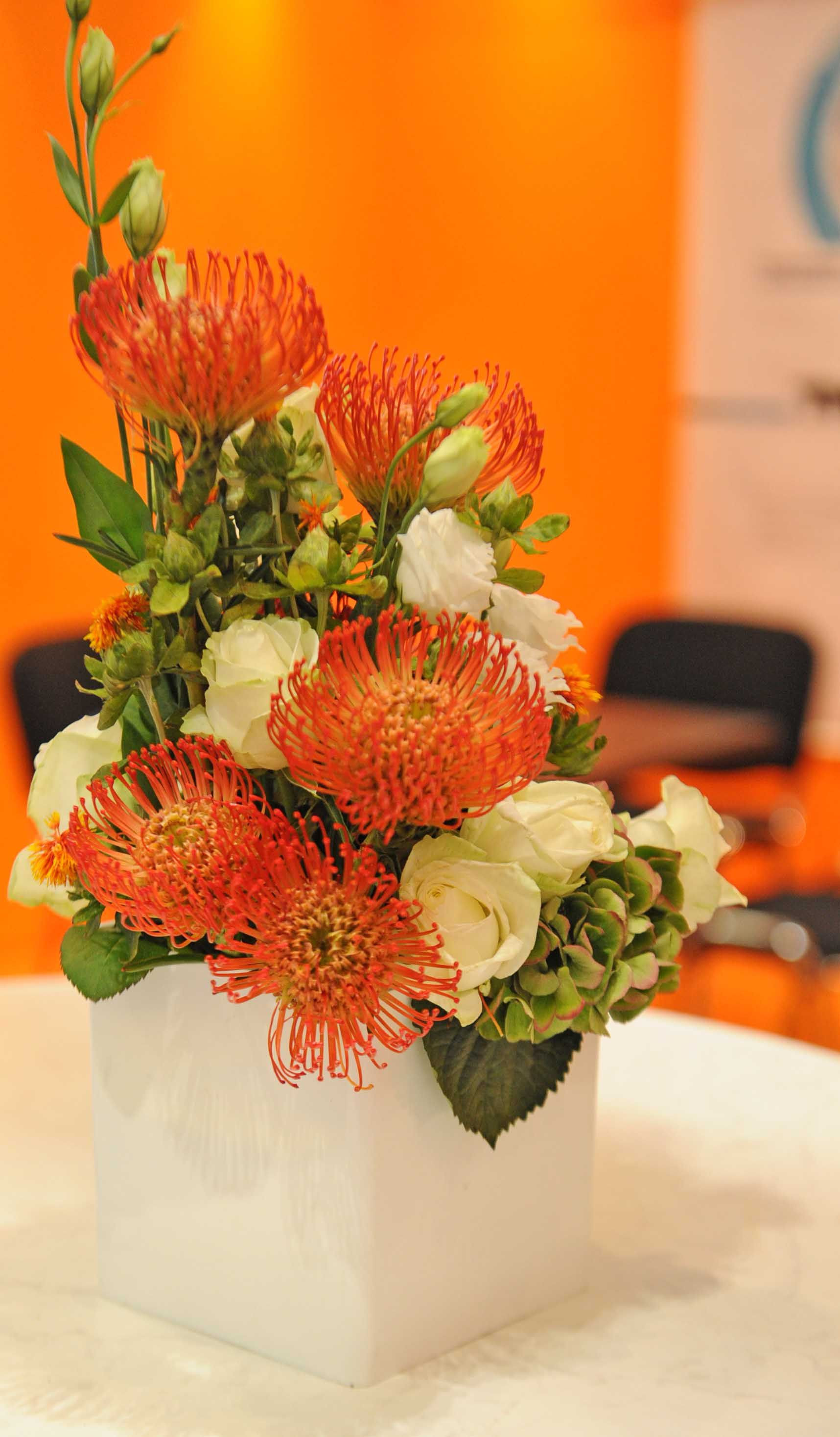45 OD Orange Pin with White Lisianthus