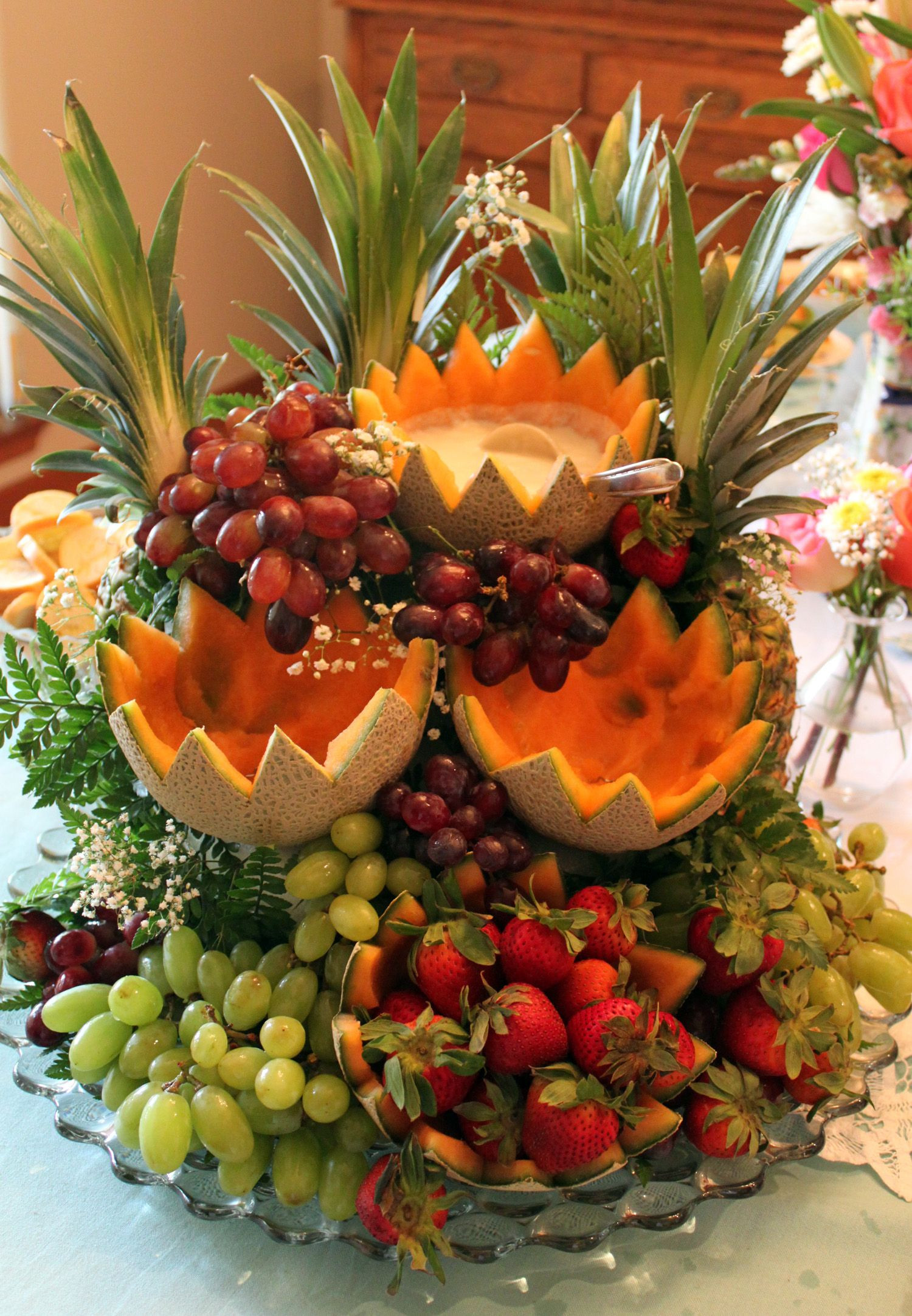 Fruit Cascade fruit display with dips for parties Legendary from every shower we throw