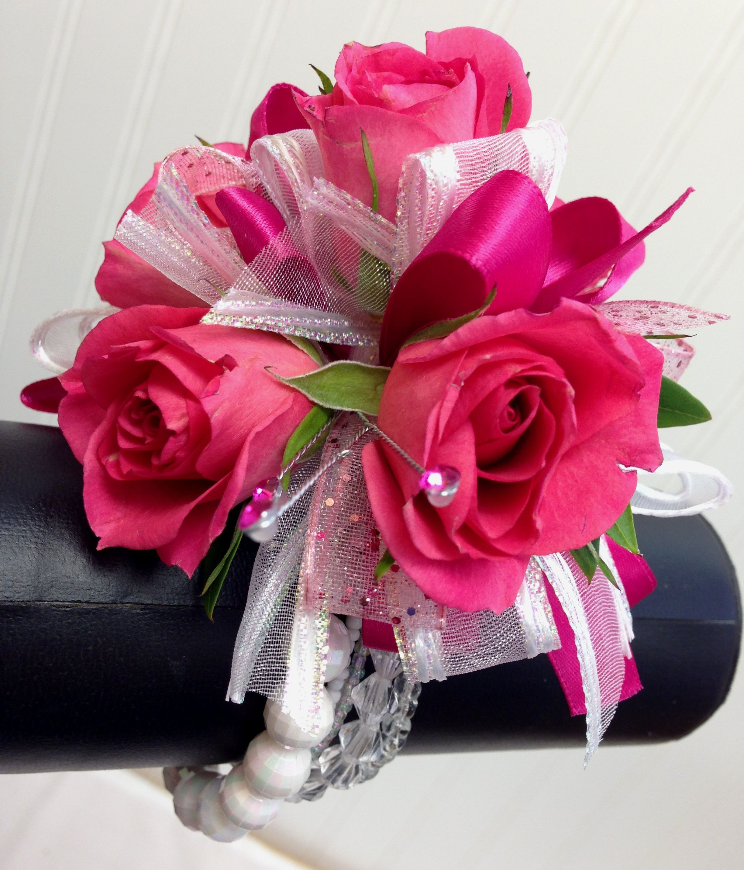 Hot pink and white wrist corsage by Ballard Blossom Prom flowers Seattle