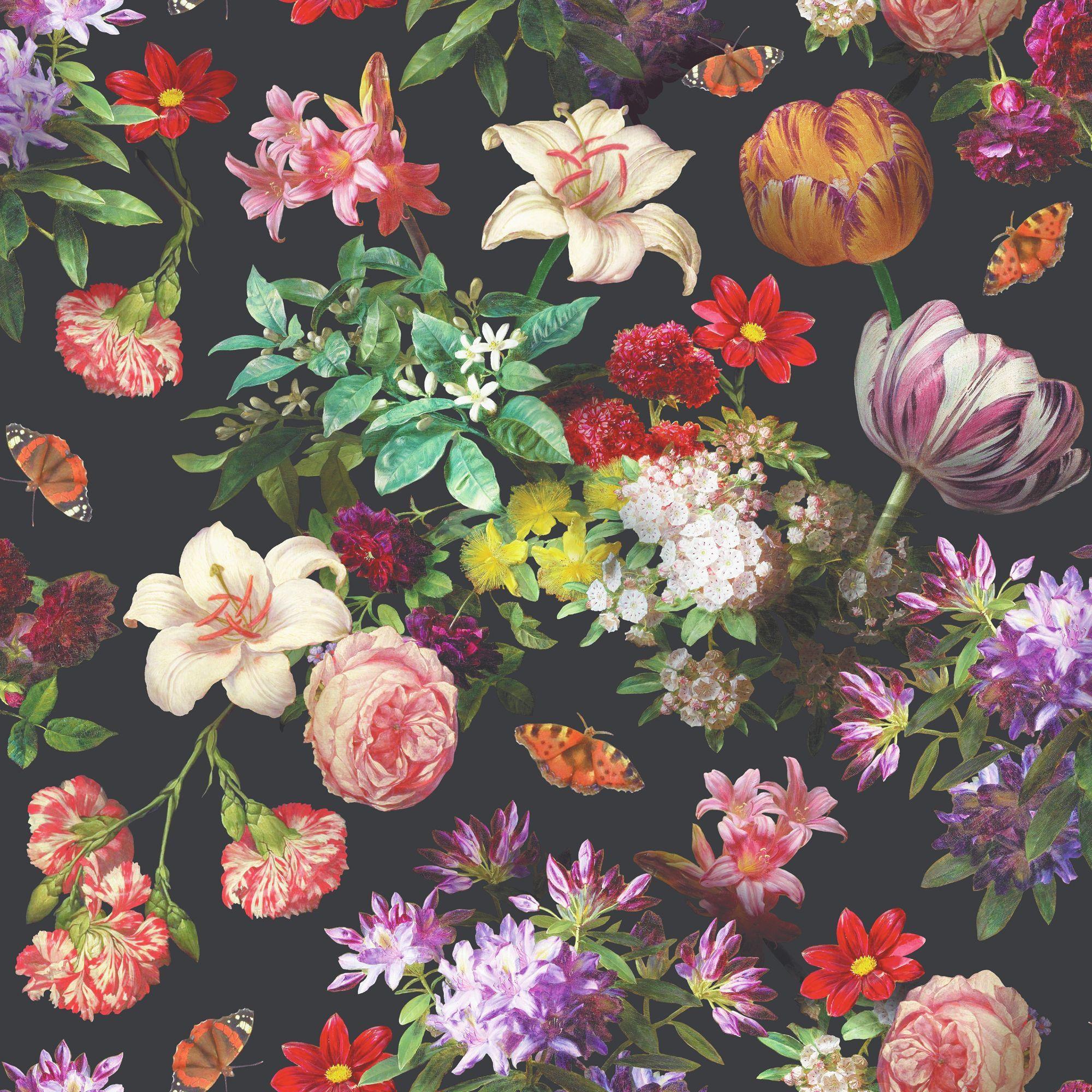 Beautiful Black Flowers Fresh Muriva Brigitte Black Floral Wallpaper In 2018 Design