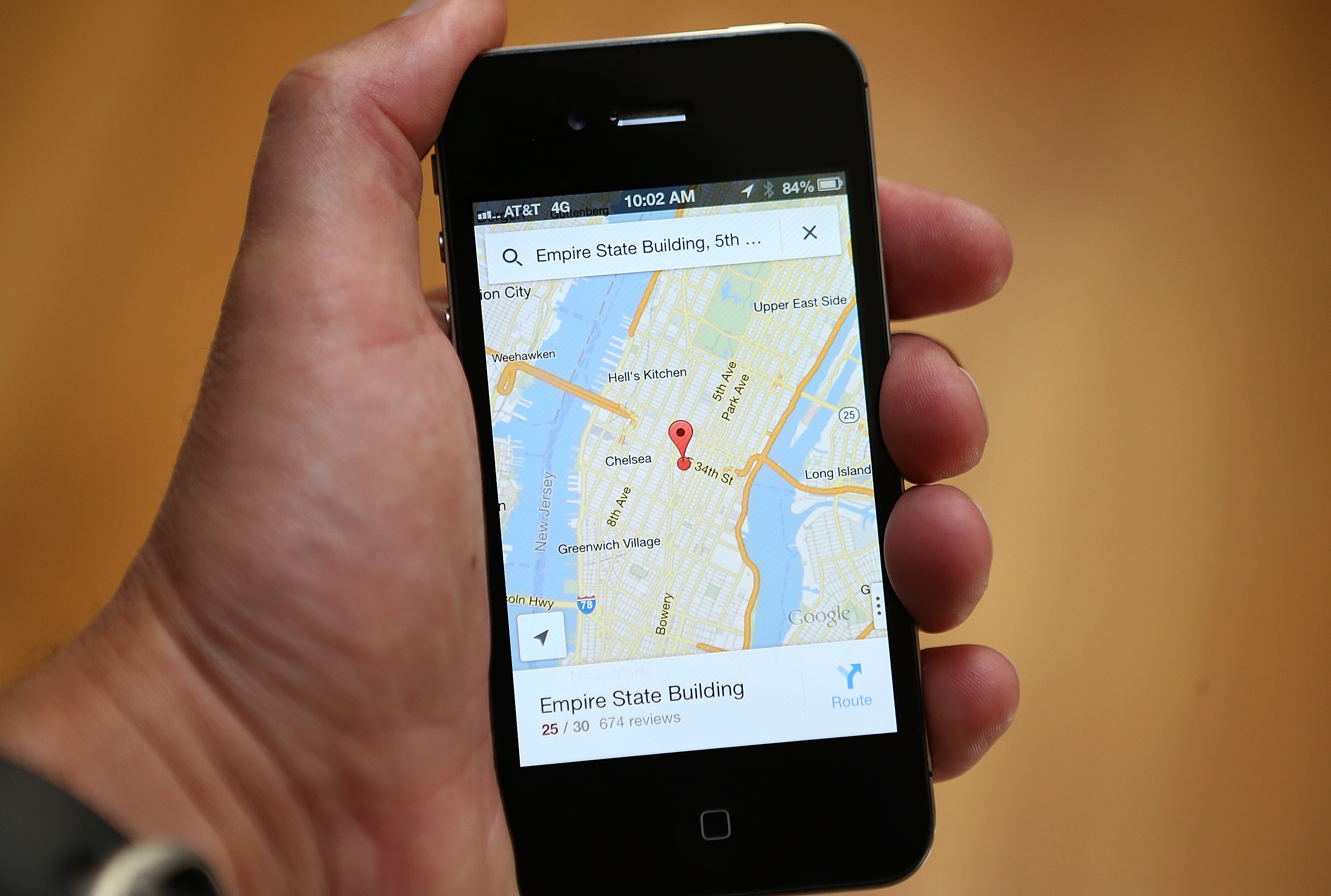 The Google Maps app is seen on an Apple iPhone 4S on December 13 2012