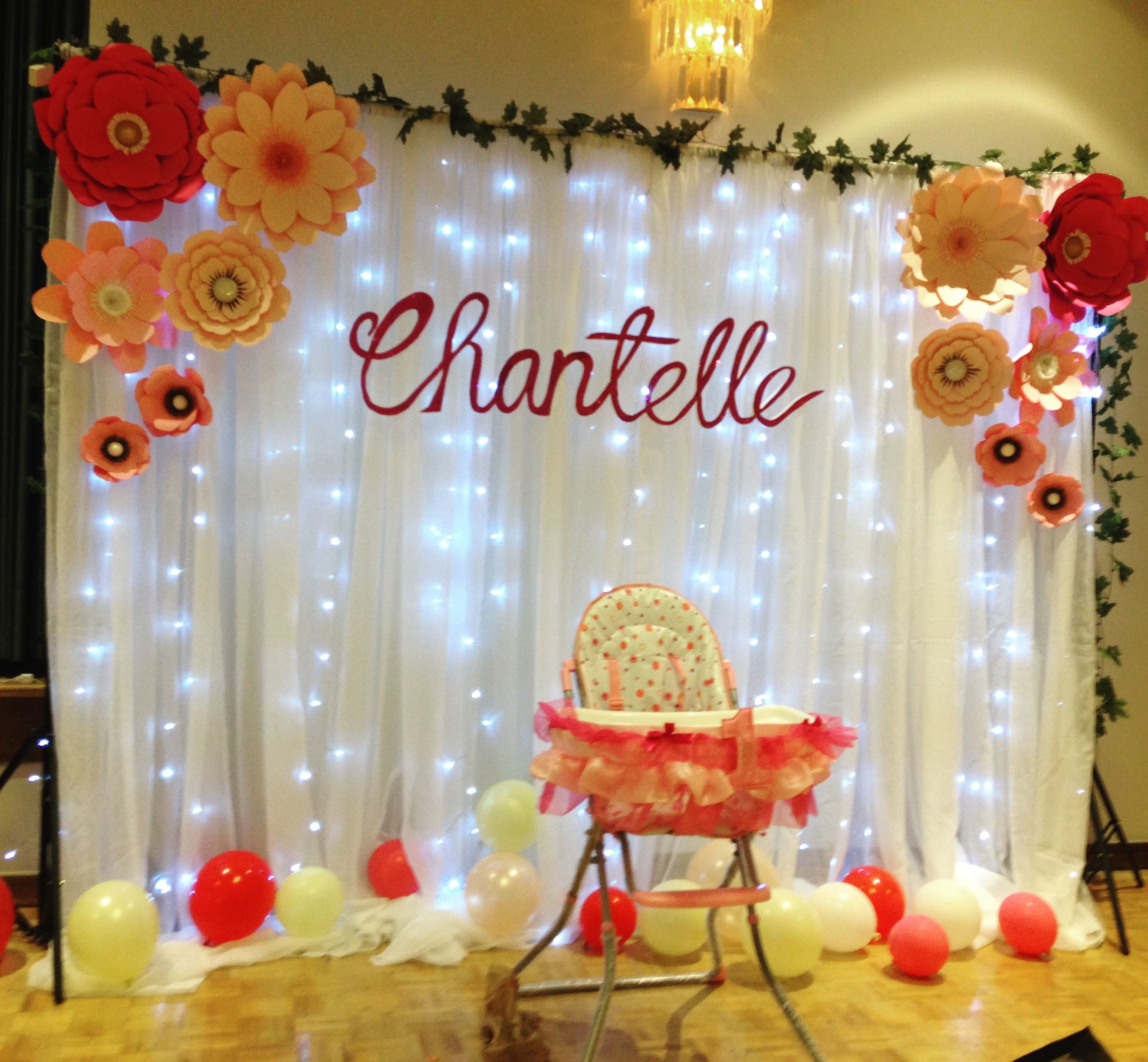 First birthday Backdrop with lights and personalized name