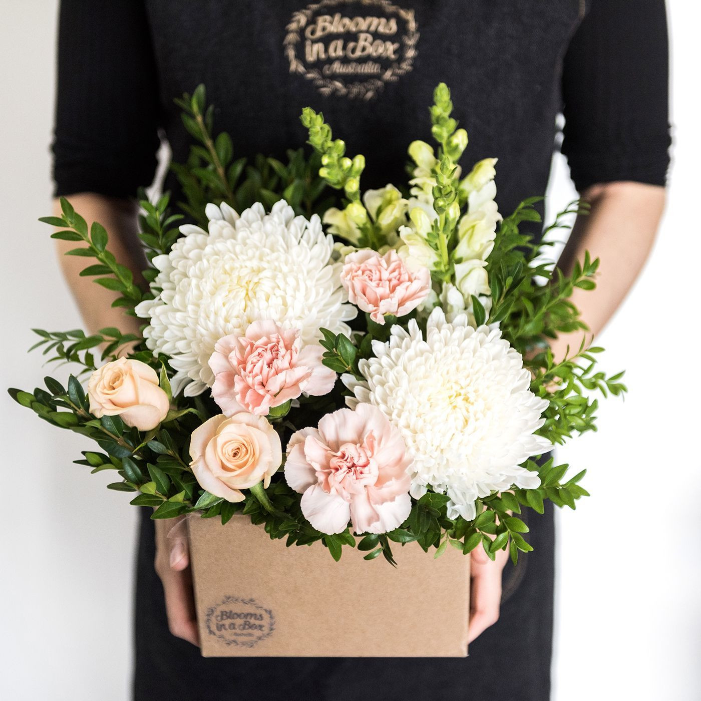 Blooms in a Box beautifully arranged in a posy box Simply top up the