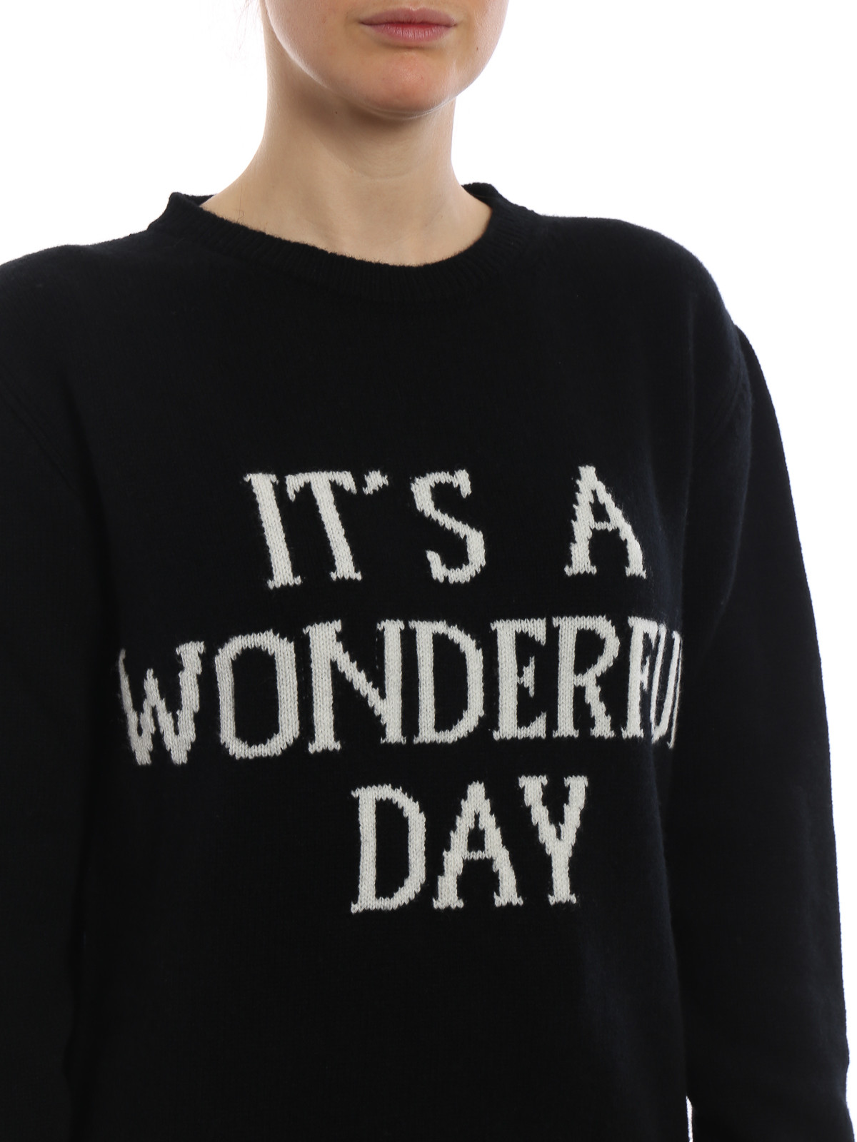 Cheap New Deals For Sale It s a Wonderful Day black crewneck Get To Buy Sale line
