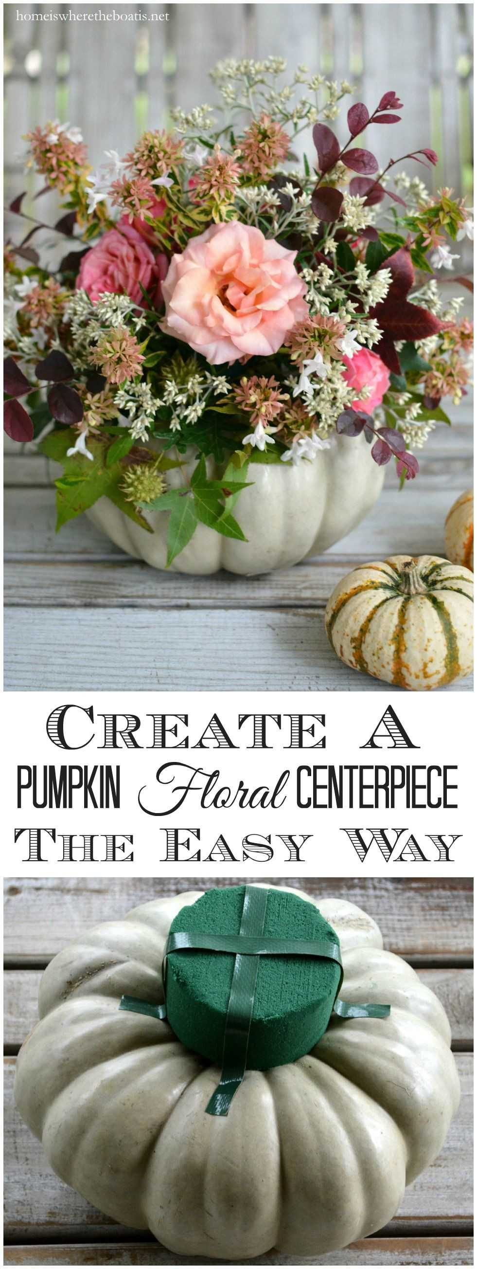 Create a Pumpkin Floral Centerpiece the easy way no carving required
