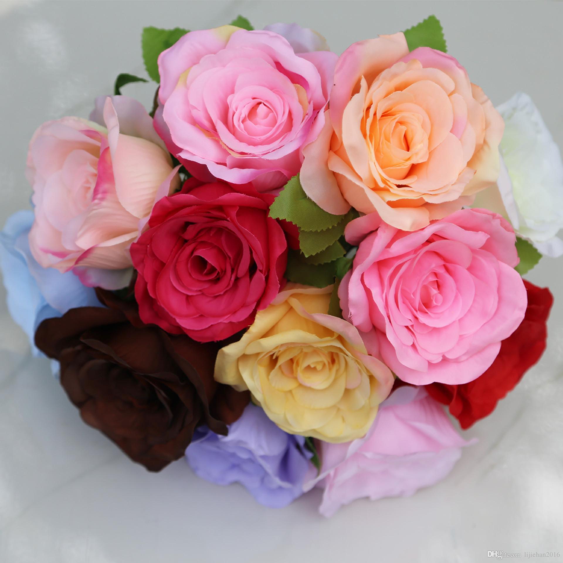 Best Artificial Flowers Silk Roses Bouquet Home Wedding Decoration Pack 24 Colour Select Hb 032 Under $0 51