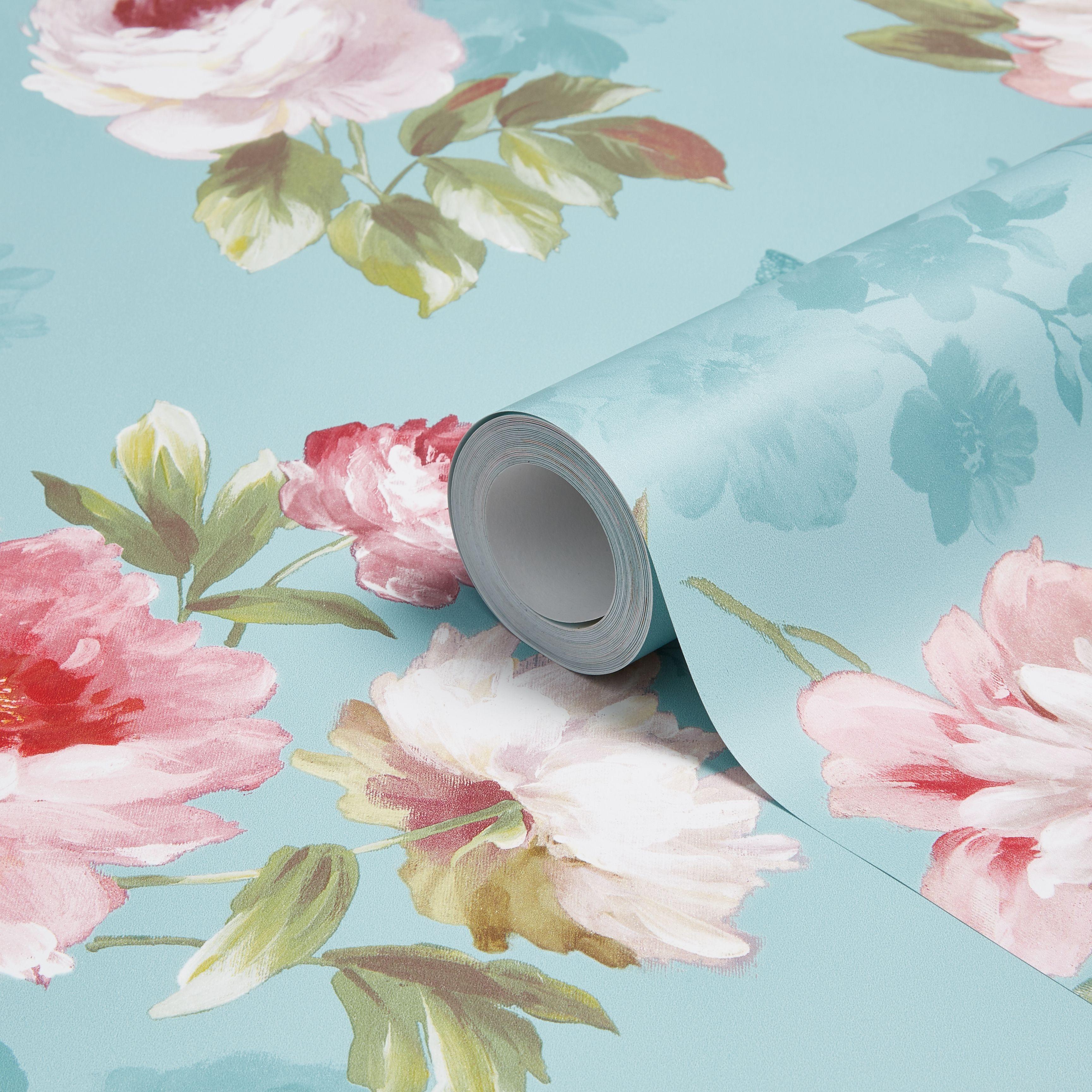 Colours Nina Duck Egg & Pink Floral Butterflies Mica Wallpaper Departments