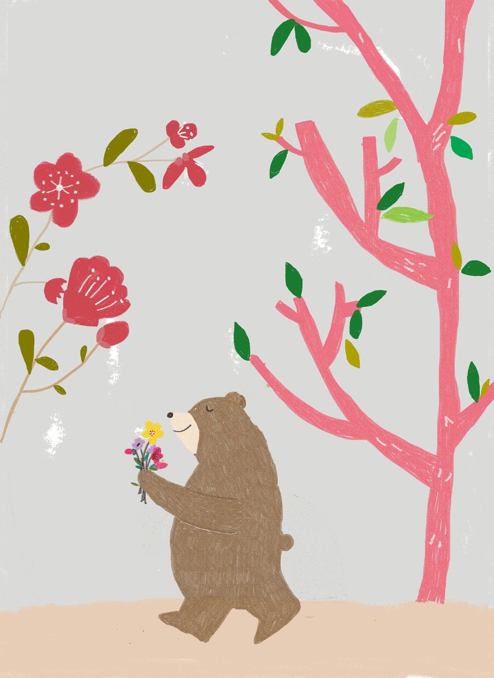 Wall Print Bear with flowers