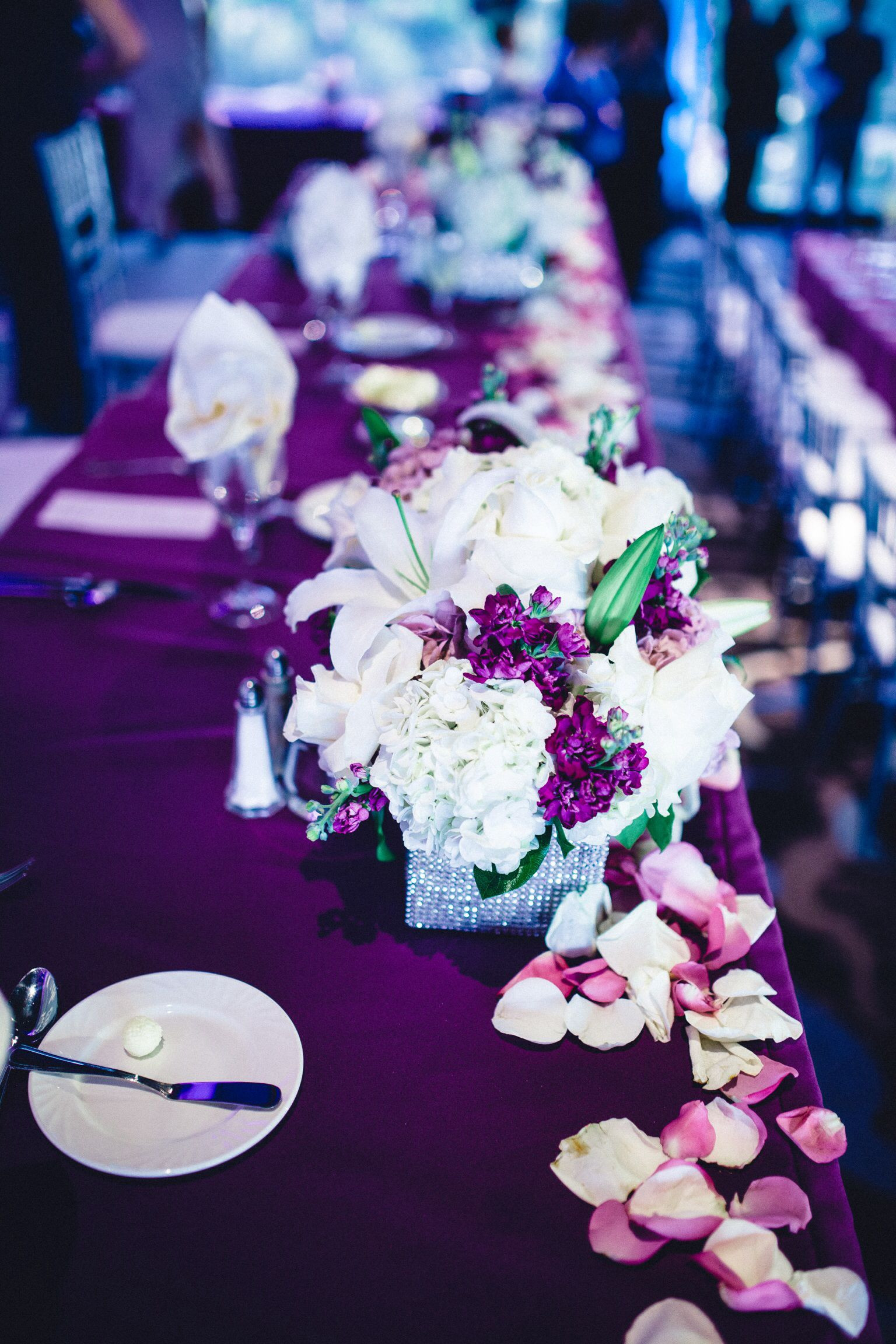Purple themed table setting
