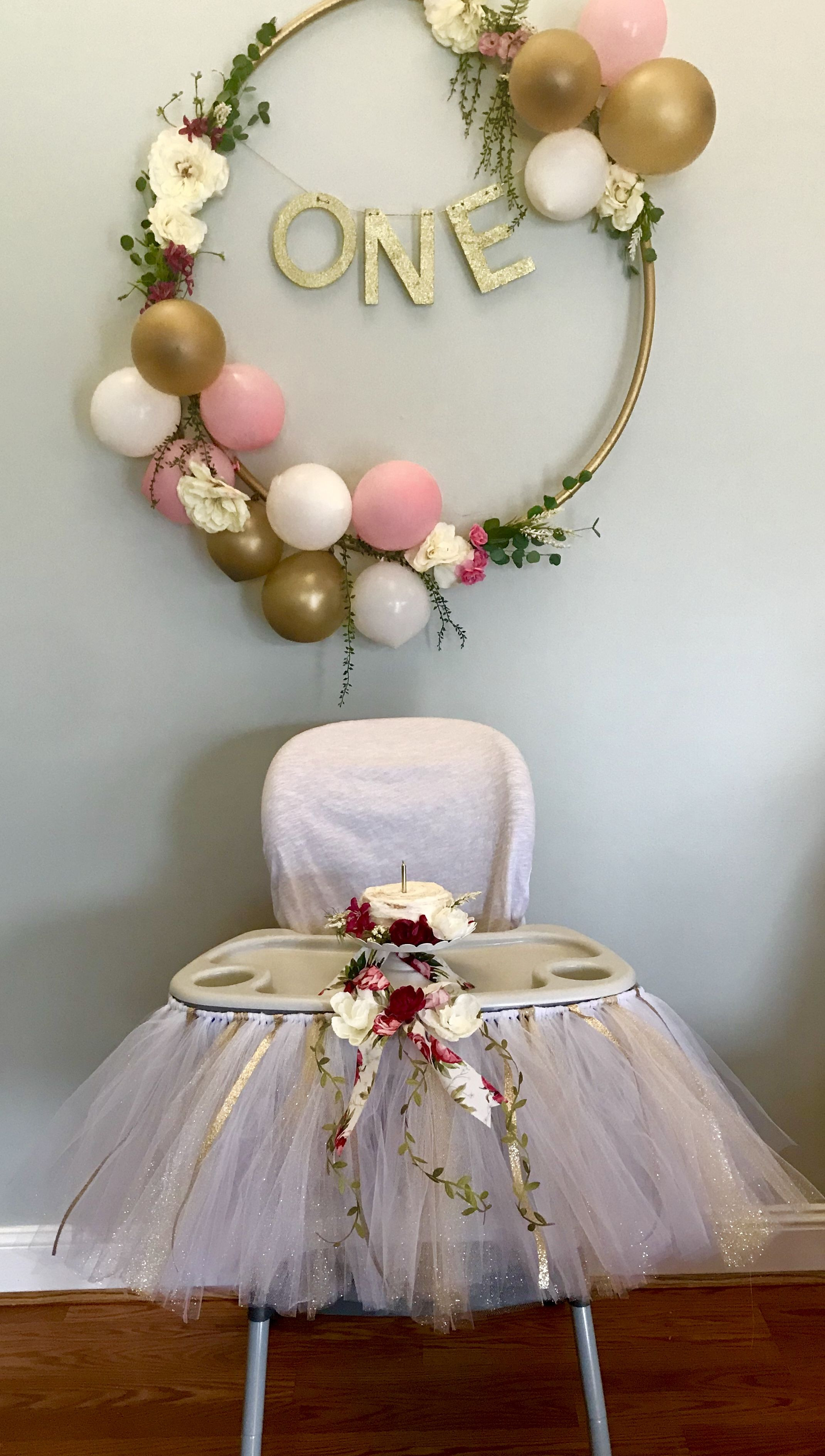Floral pink and gold first birthday decorations Hula hoop wreath