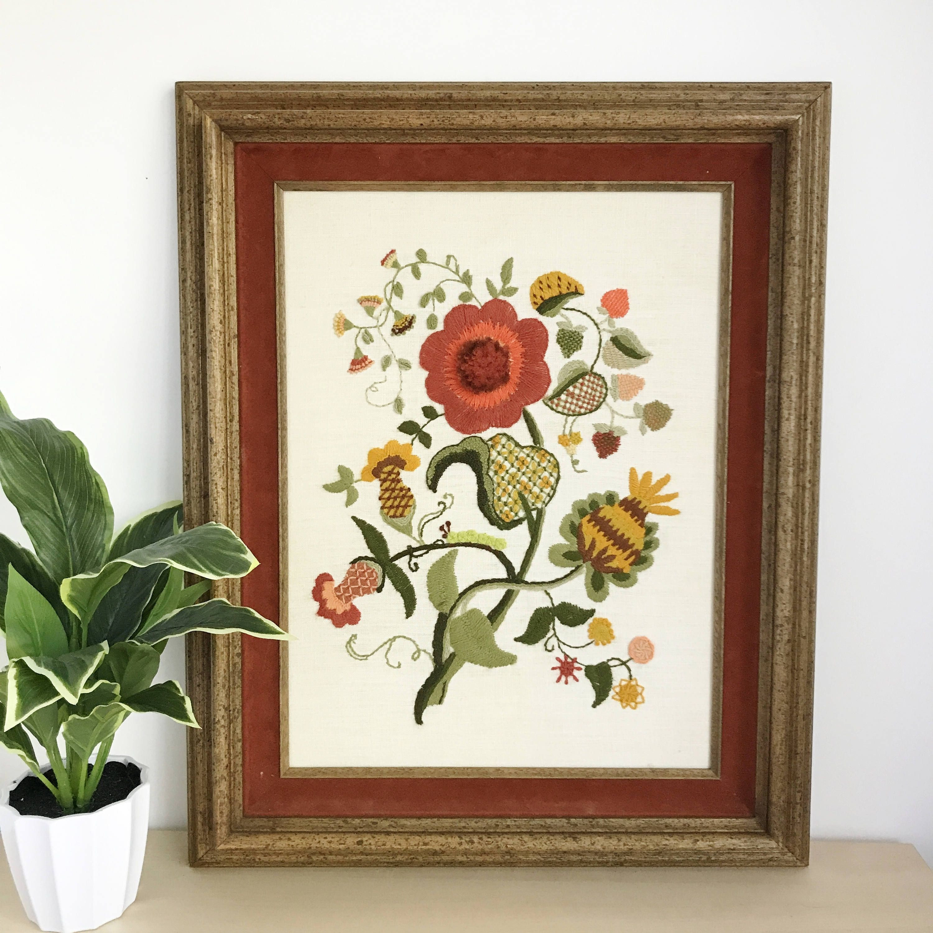Vintage Crewel Embroidery Framed Art Textile Wall Art 17""