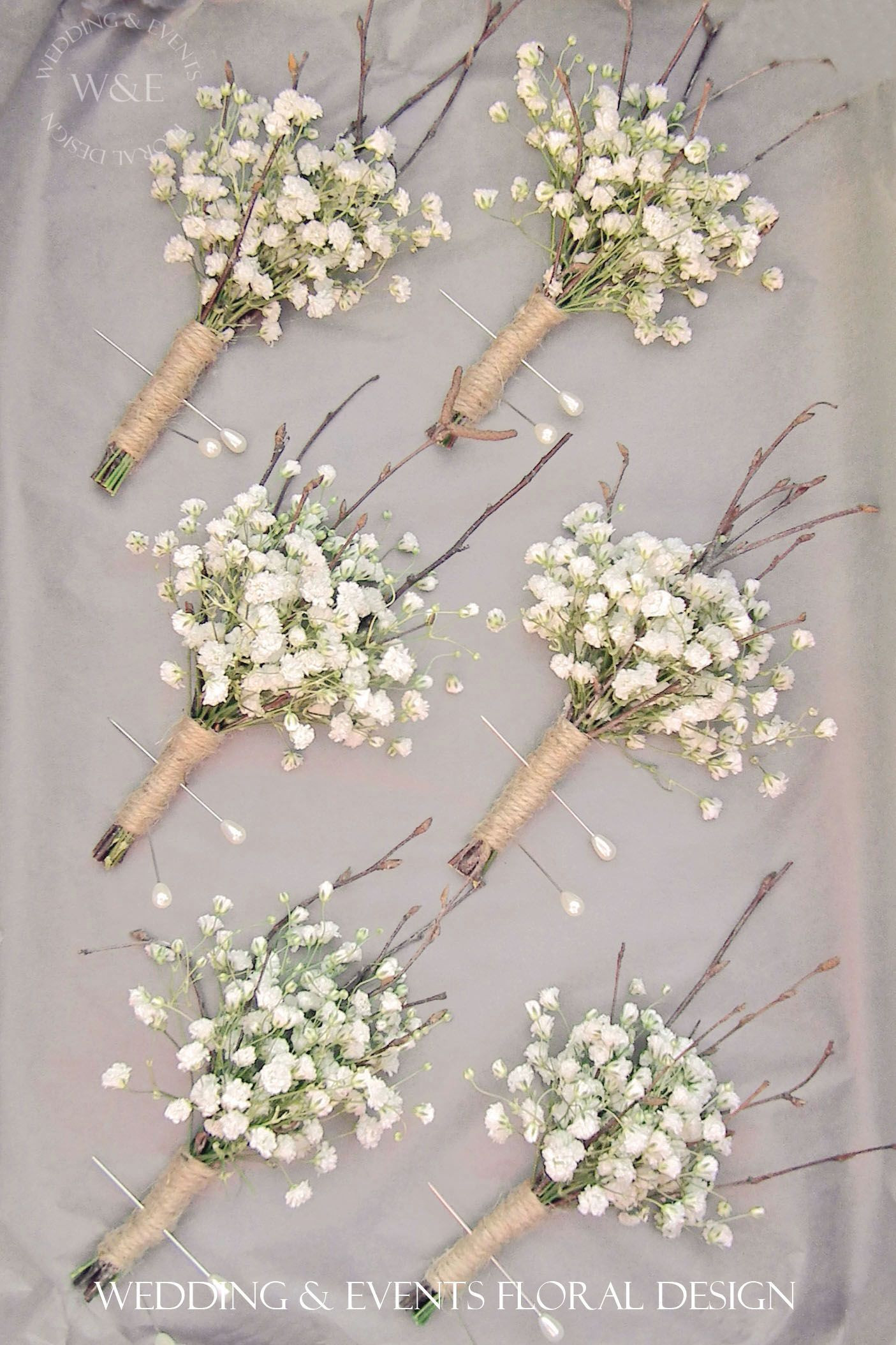 Gypsophila Twigs & Twine Buttonholes mple but fabulous Wedding & Events Floral Design North Yorkshire Wedding Flowers