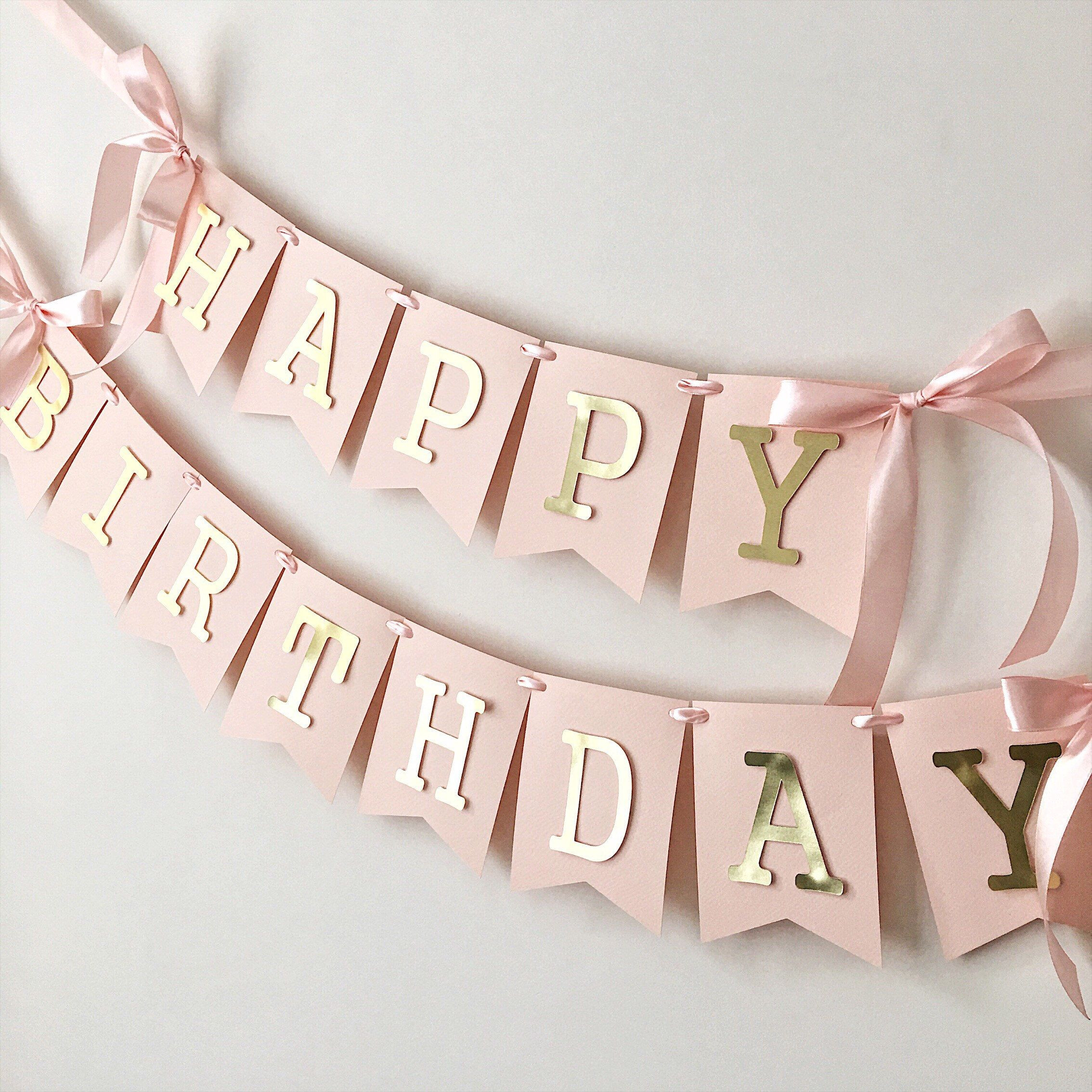 Excited to share the latest addition to my etsy shop Blush Rose Gold Happy Birthday Banner Personalized Girl 1st Birthday Banner Custom Birthday Sign