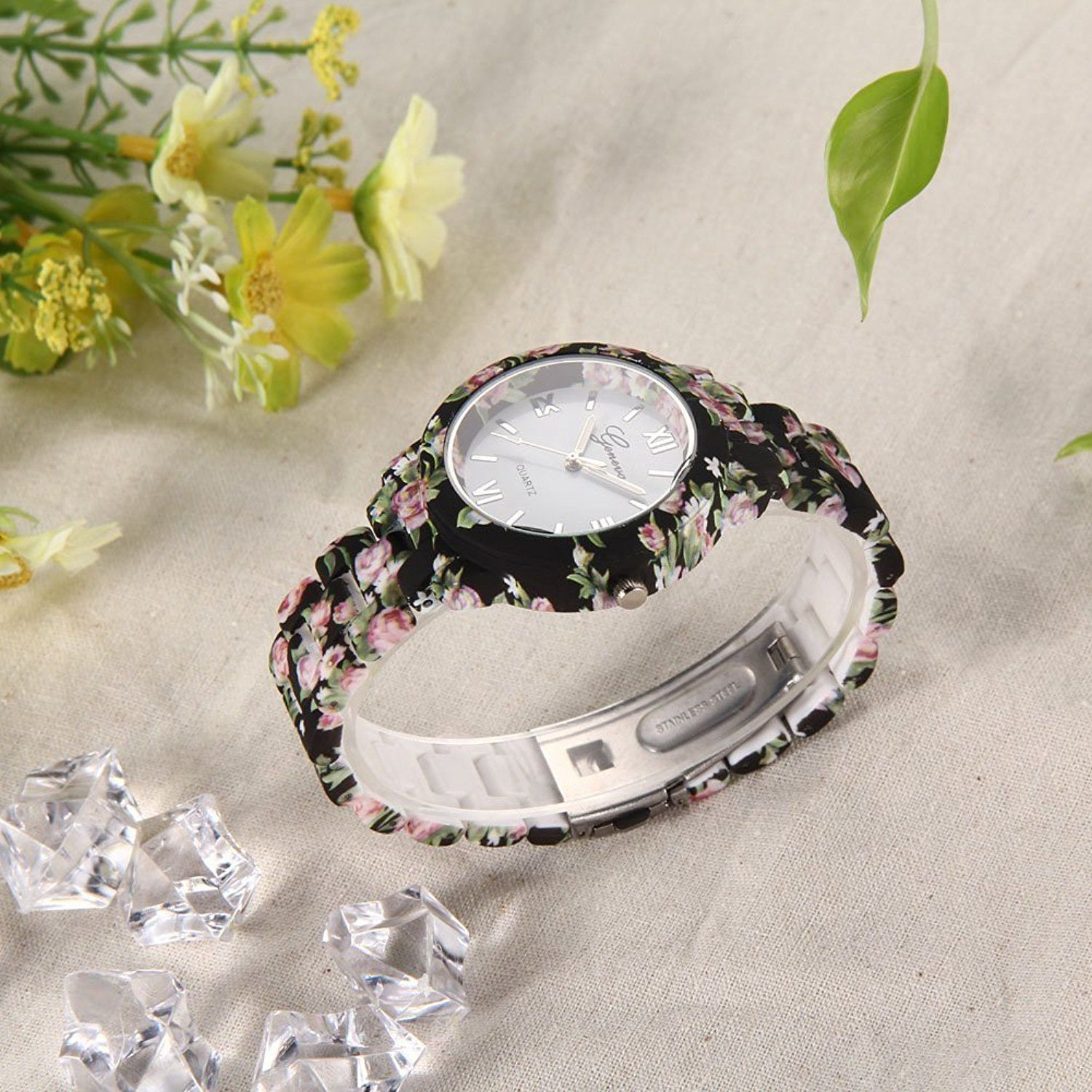 Geneva Floral Print Watch For Womens