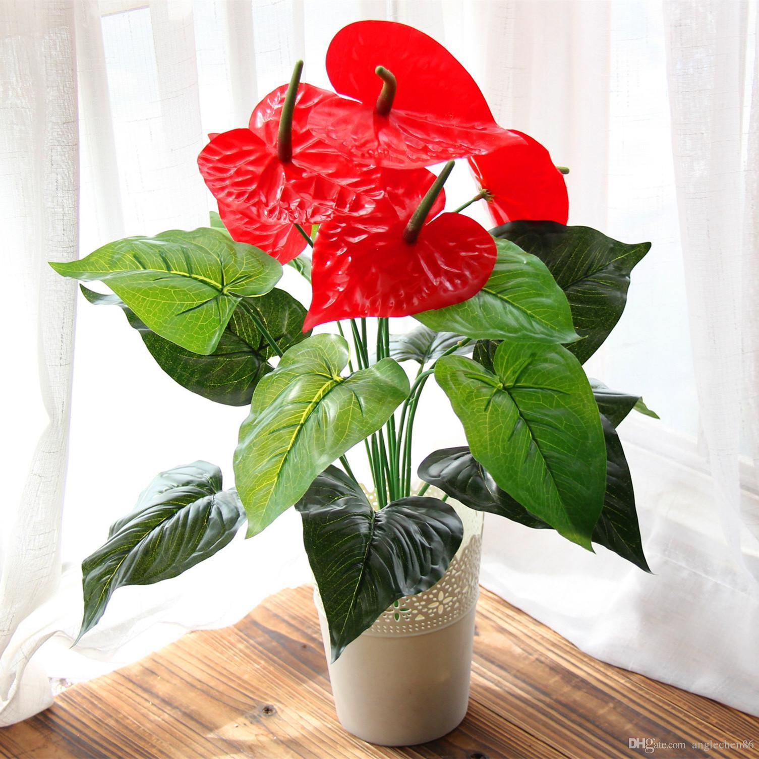Best Great 18 Heads Artificial Flower Small Potted Plant Silk Suit Potted Anthurium fice Home Garden Decoration Bonsai Wholesale Under $5 03