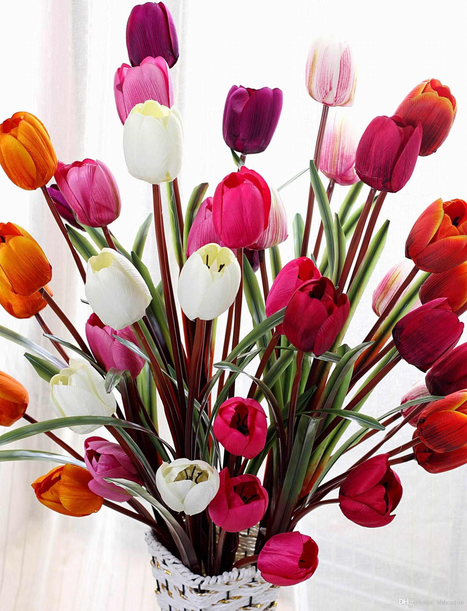 Canada Flowers Discount Inspirational Silk Tulip Display Flower Real touch Non Polluting Tulip Artificial