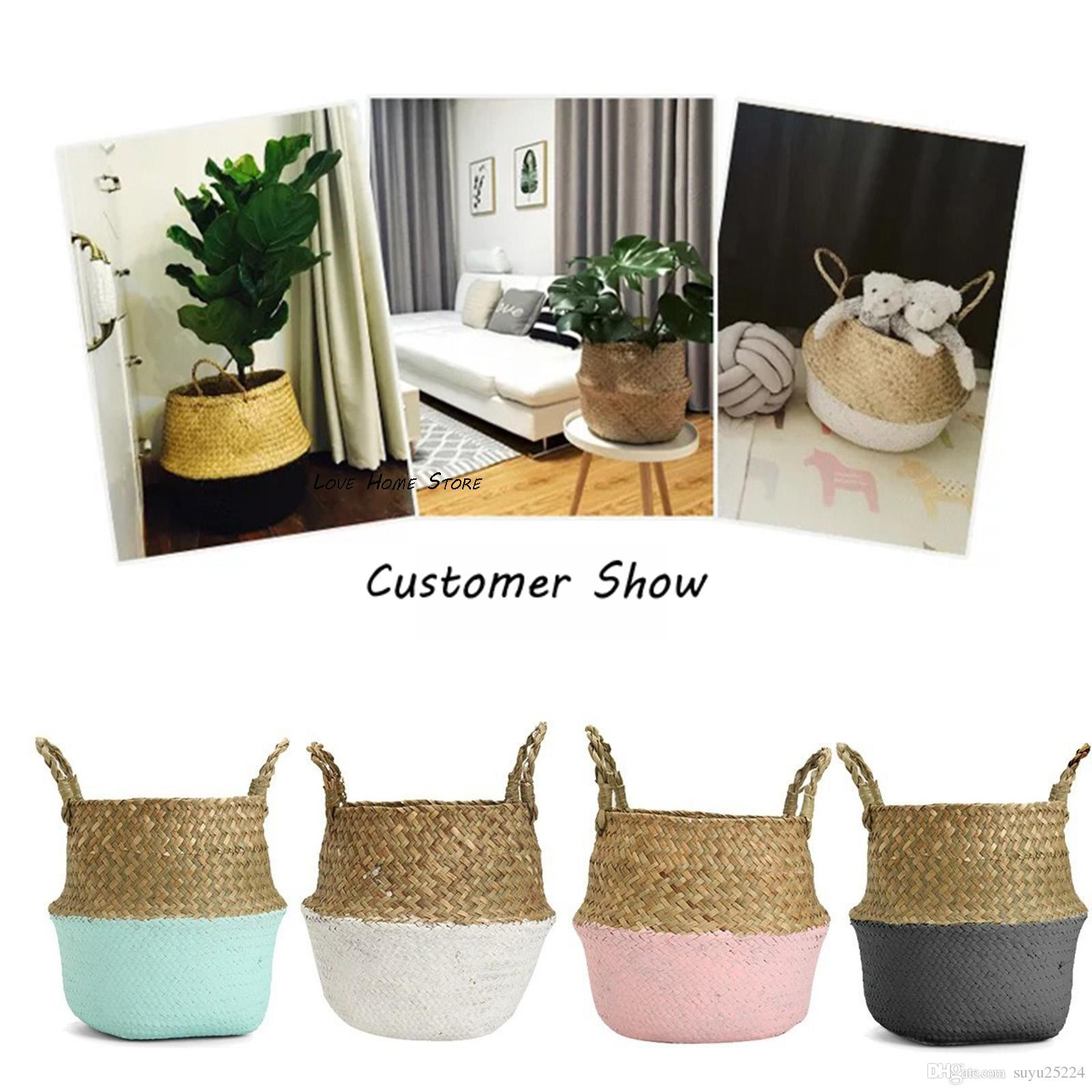 Discount Natural Rattan Flower Basket Planter Basket Organize Black Foldable Seagrass Basket Laundry R Home Garden Decor Nursery Pots 38cm Big From China