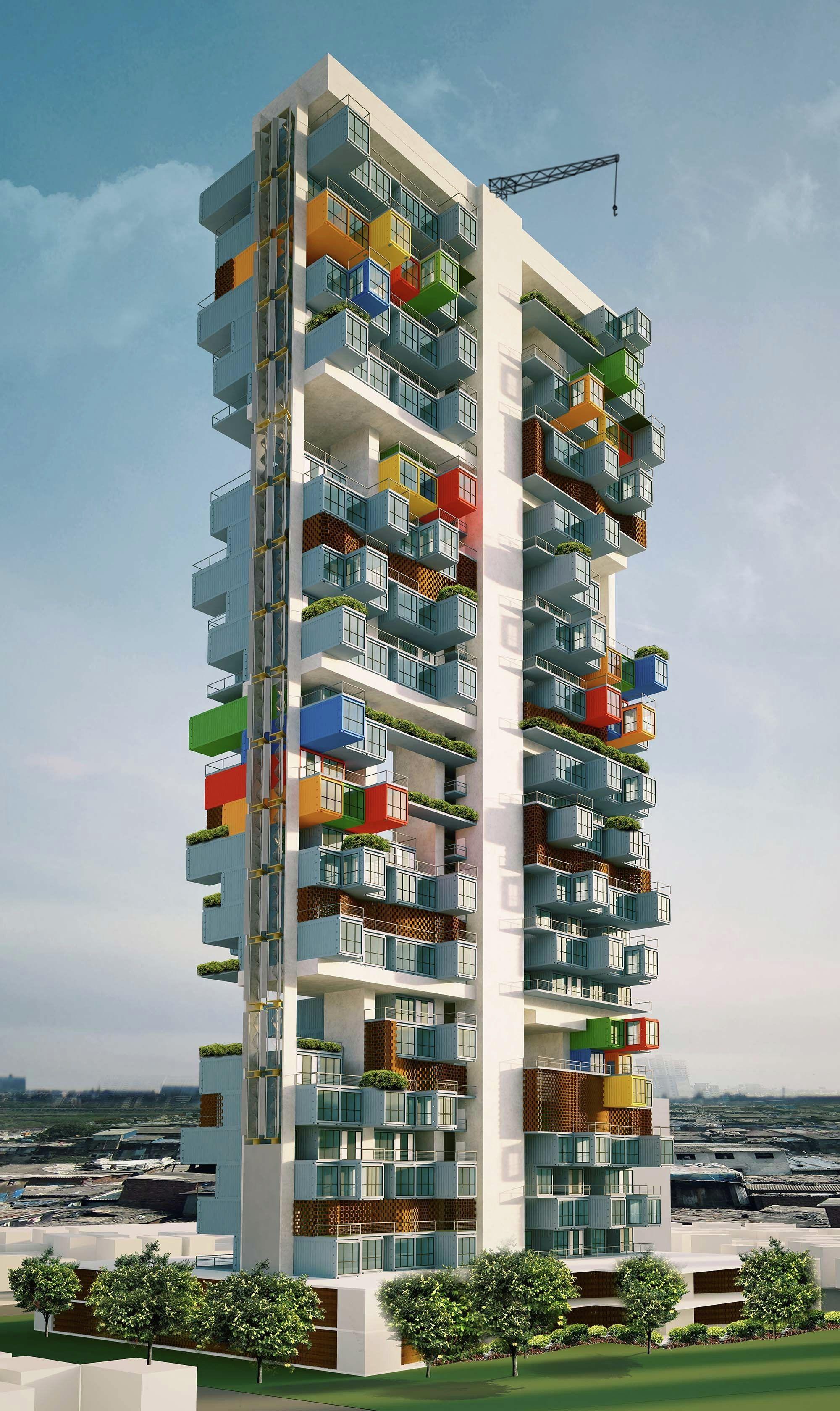 Gallery GA Designs Radical Shipping Container Skyscraper for Mumbai Slum 2