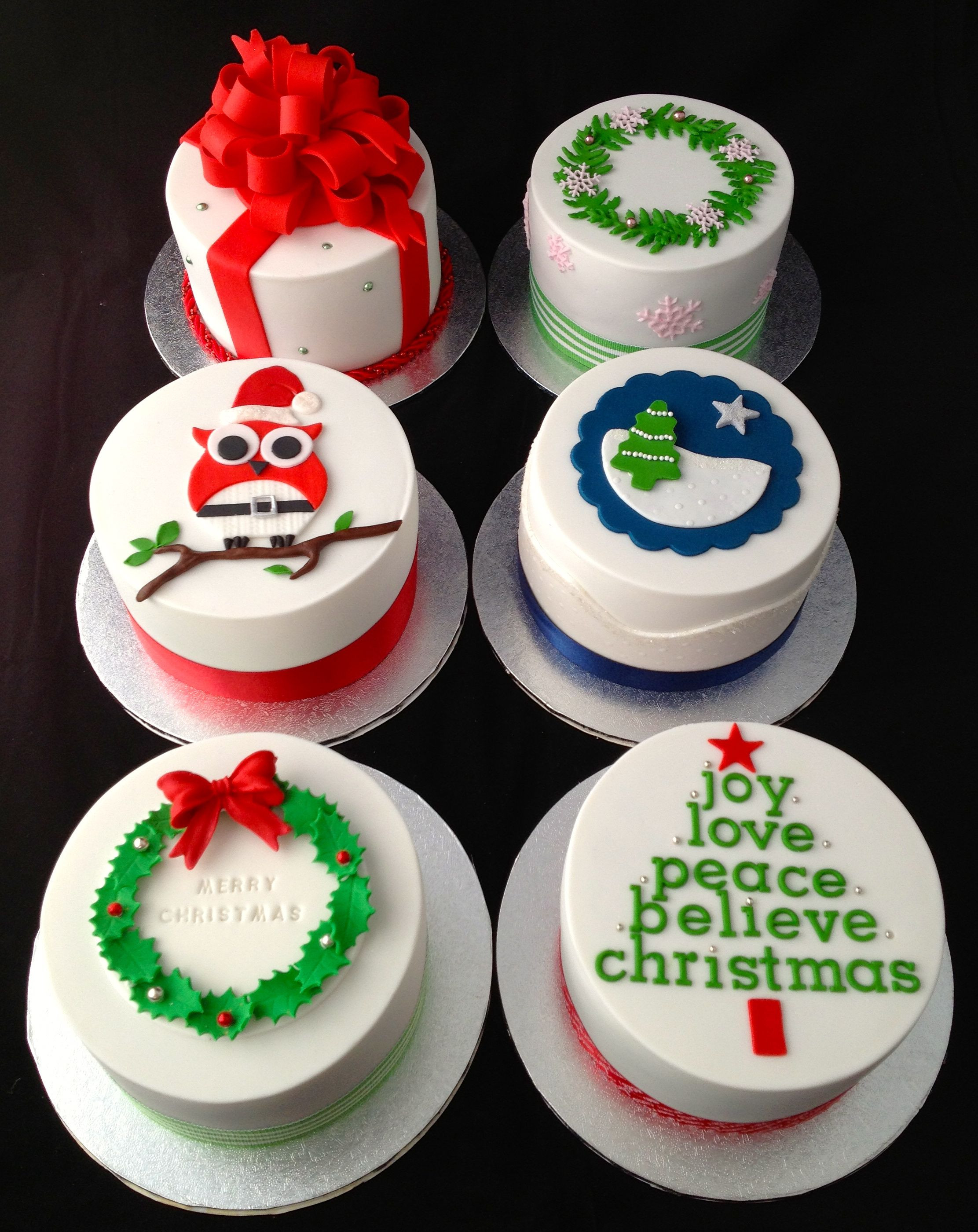 "Mini Christmas Cakes Trying out cake designs for this year 4"" mini fruit cakes"