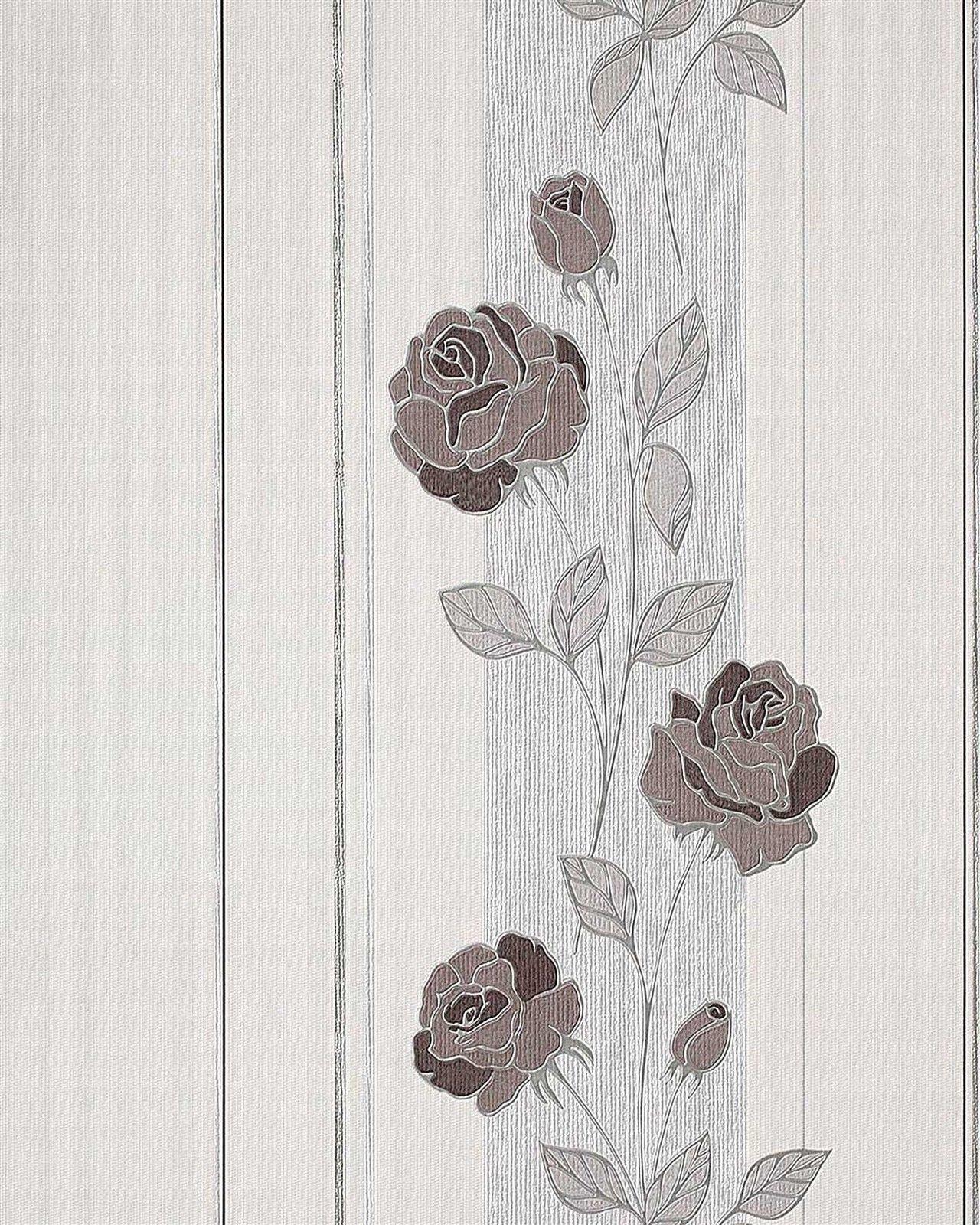 Edem 766 30 Deluxe Blumen Streifen Tapete Rosen Creme Kakao braun Silber Grau