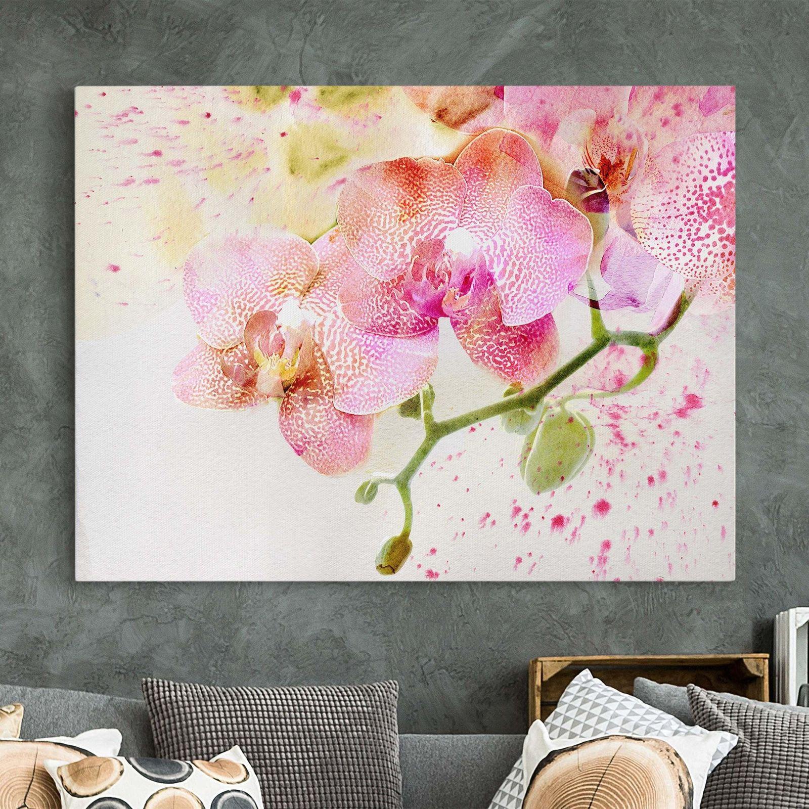 Leinwand Bild Aquarell Blumen Orchideen Quer 3 4 Kunstdruck Xxl Leinwandbild
