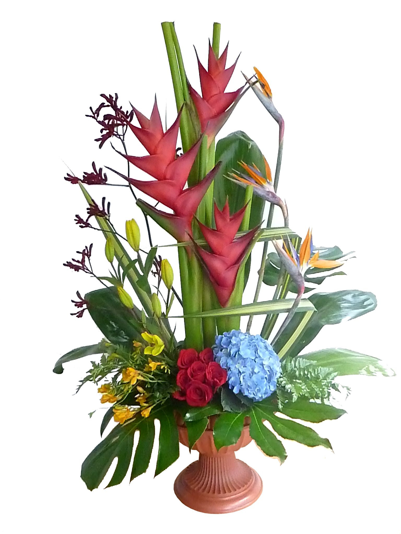 decoracion con flores exoticas helioconias aves de paraiso sobre base con clavel chino