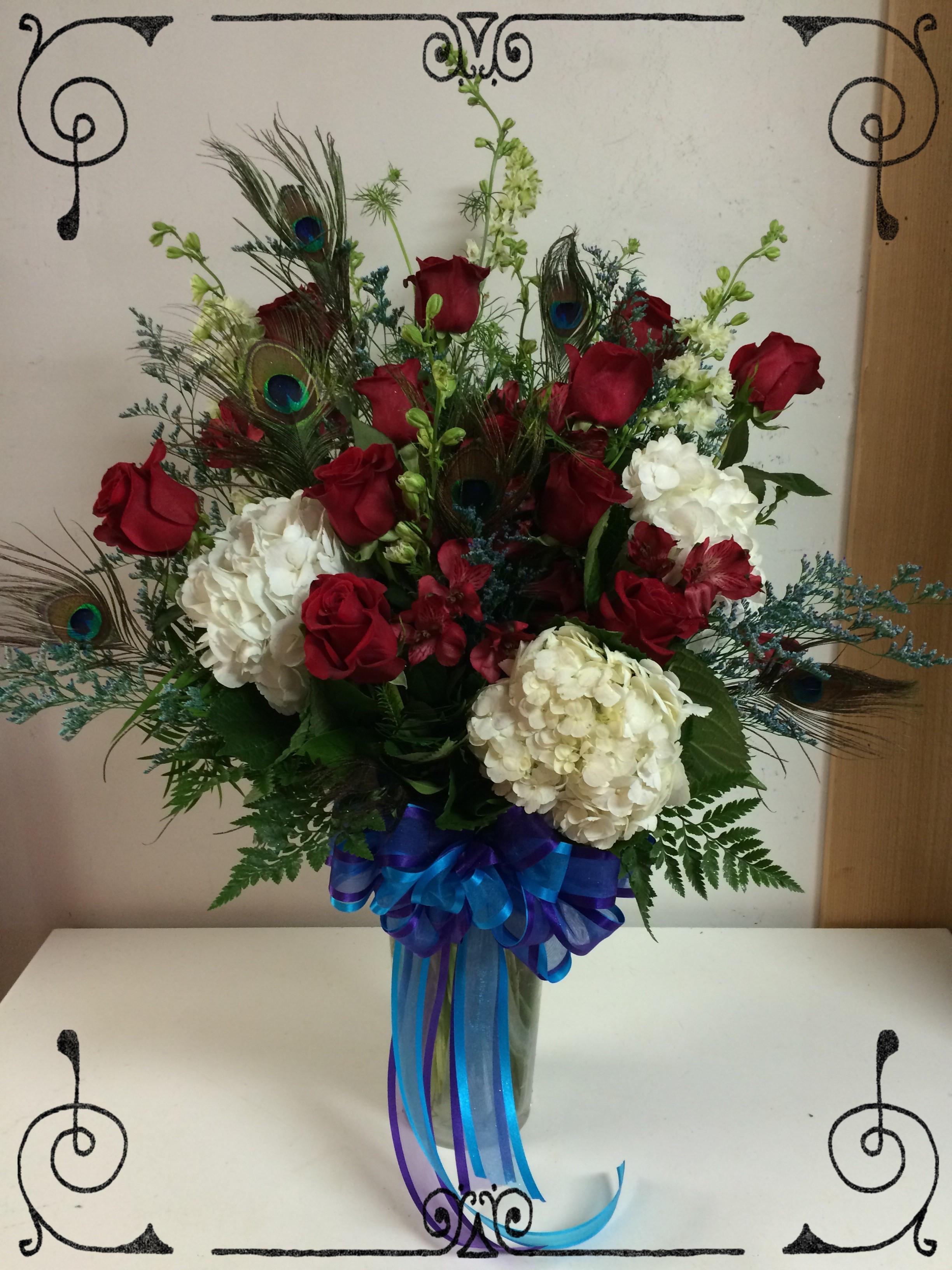 Peacock Roses & Hydrangeas