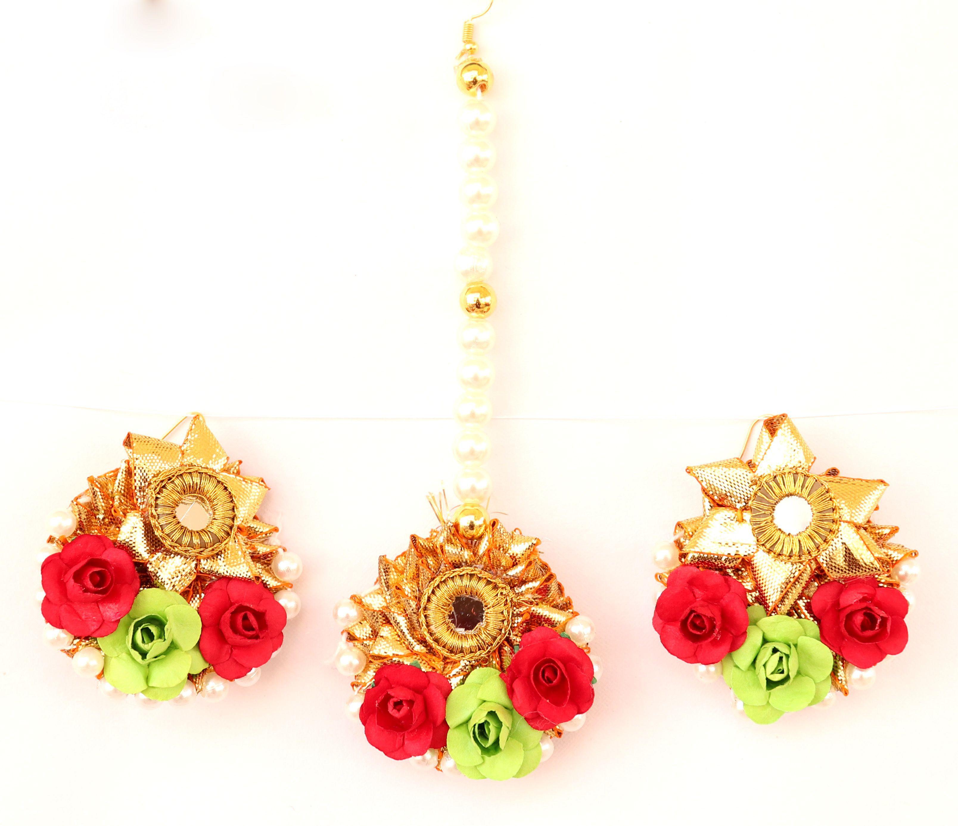 Floret Jewellery Red Green Flower Gota Patti Earrings & Maang Tika For Women & Girls Mehandi Haldi Bride Wedding Fashion