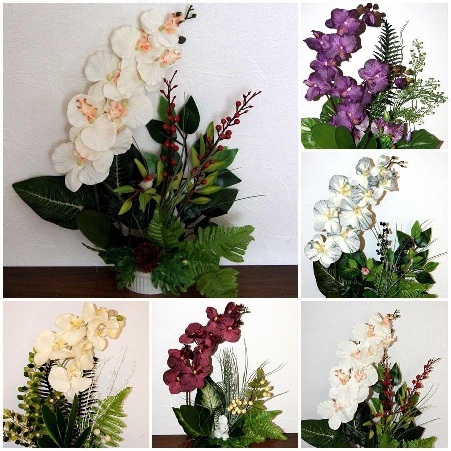 Orchideen Topf Kunstblume Tischdeko Künstliche Blumen Dekoration Büro Dekor K34