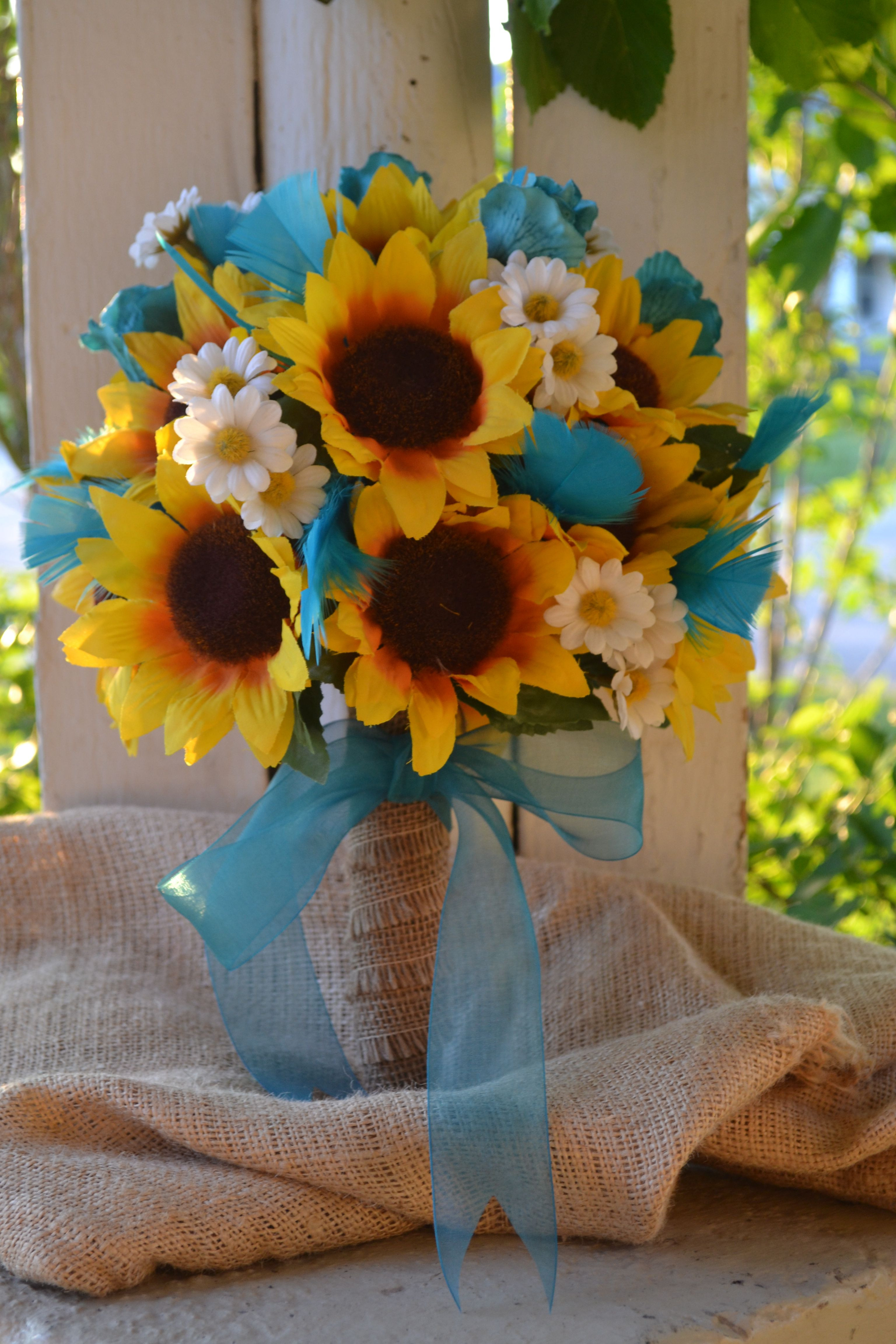My Day Bouquet Sunflowers Turquoise Rose Buds Turquoise Goose Flowers White Daisies and Burlap Original Design ONLY My Day Bouquet