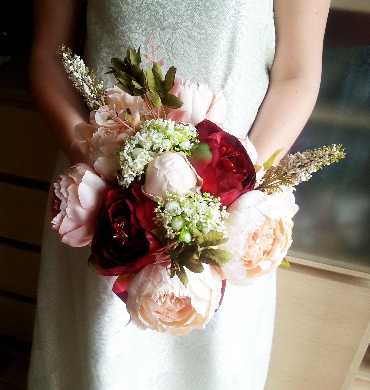 Silk and satin flowers peonies hydrangea vintage wedding bouquet blush pink burgundy Flowers satin ribbon